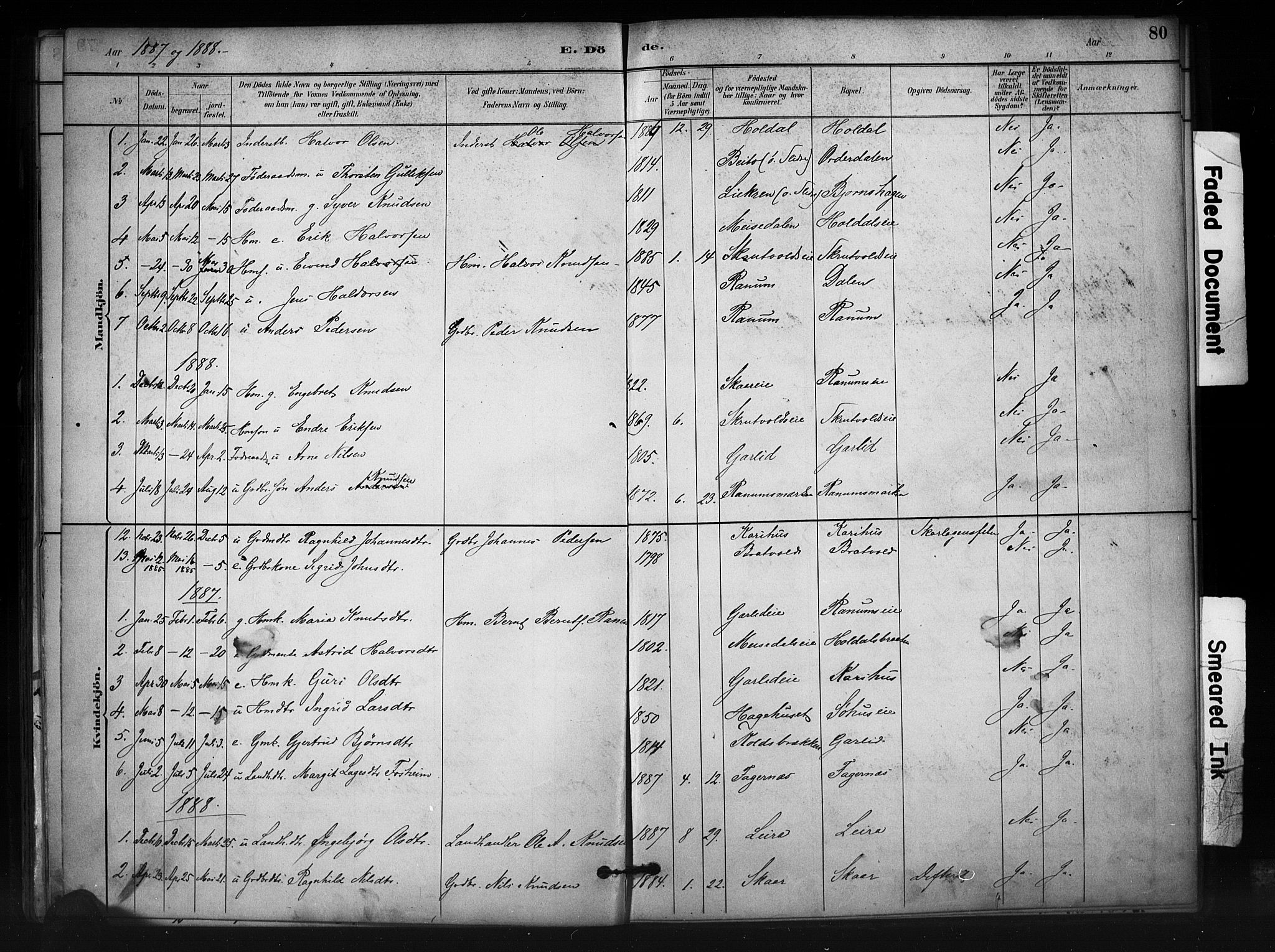 SAH, Nord-Aurdal prestekontor, Ministerialbok nr. 12, 1883-1895, s. 80