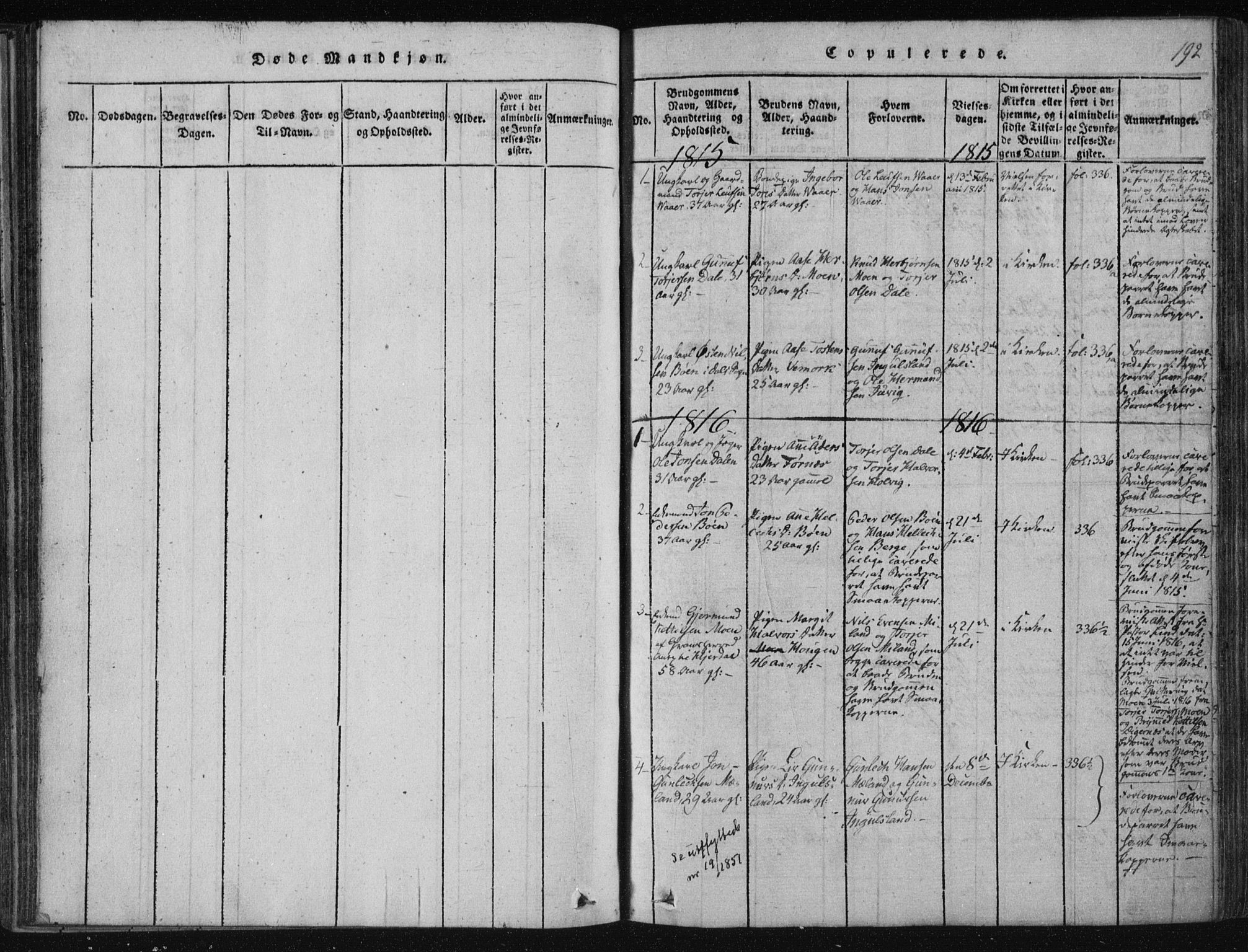 SAKO, Tinn kirkebøker, F/Fc/L0001: Ministerialbok nr. III 1, 1815-1843, s. 192