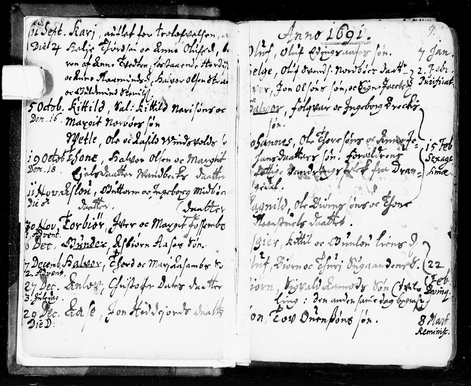 SAKO, Seljord kirkebøker, F/Fa/L0002: Ministerialbok nr. I 2, 1689-1713, s. 8-9