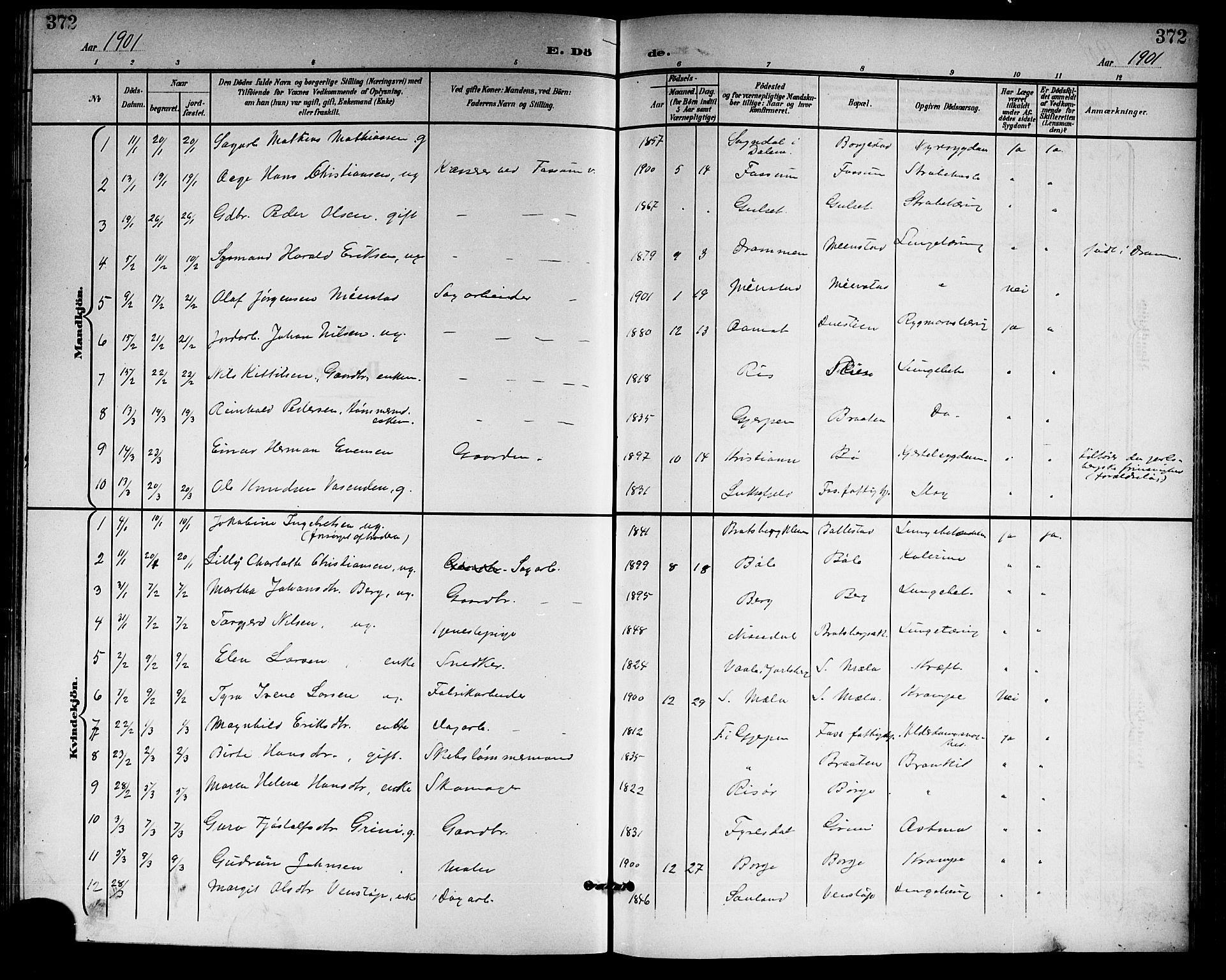 SAKO, Gjerpen kirkebøker, G/Ga/L0003: Klokkerbok nr. I 3, 1901-1919, s. 372