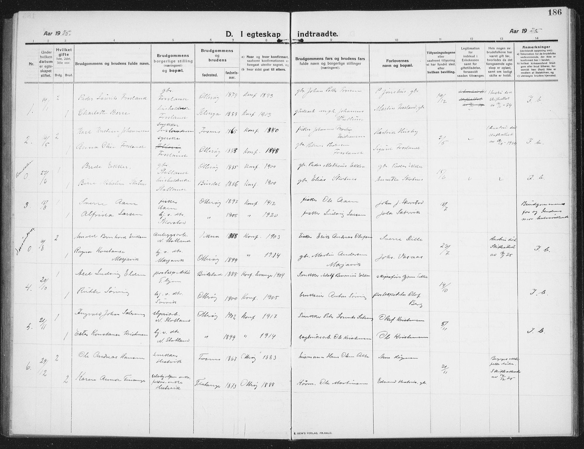 SAT, Ministerialprotokoller, klokkerbøker og fødselsregistre - Nord-Trøndelag, 774/L0630: Klokkerbok nr. 774C01, 1910-1934, s. 186