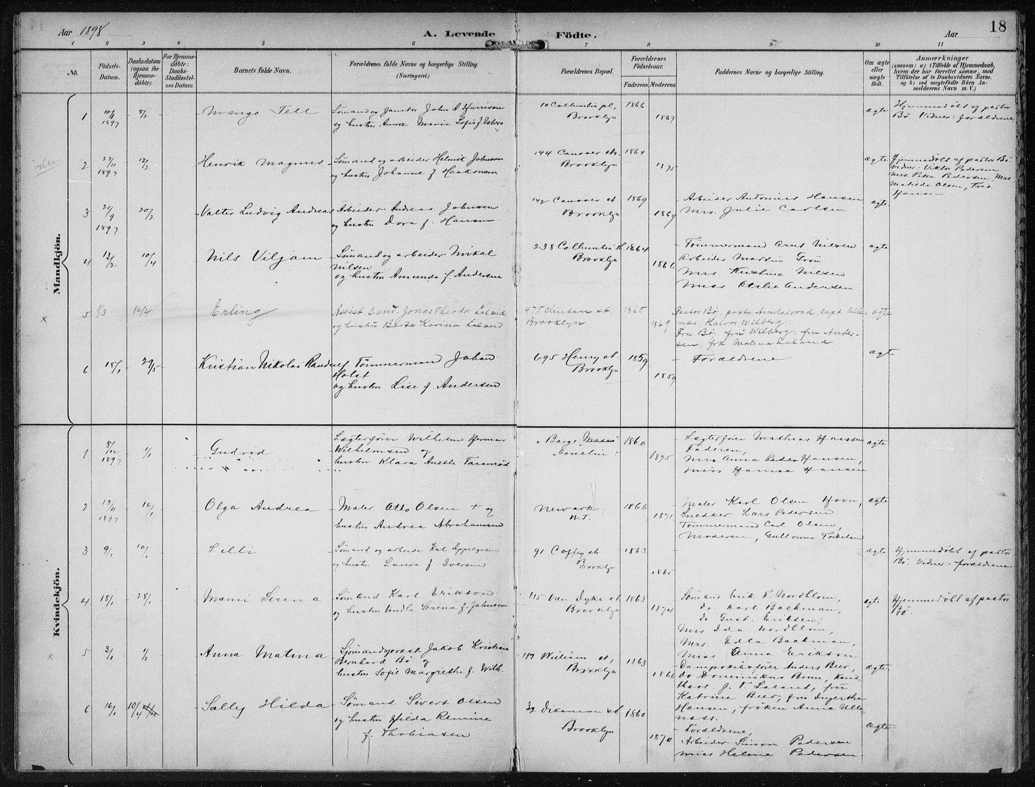 SAB, Den Norske Sjømannsmisjon i utlandet*, Ministerialbok nr. A 4, 1893-1901, s. 18