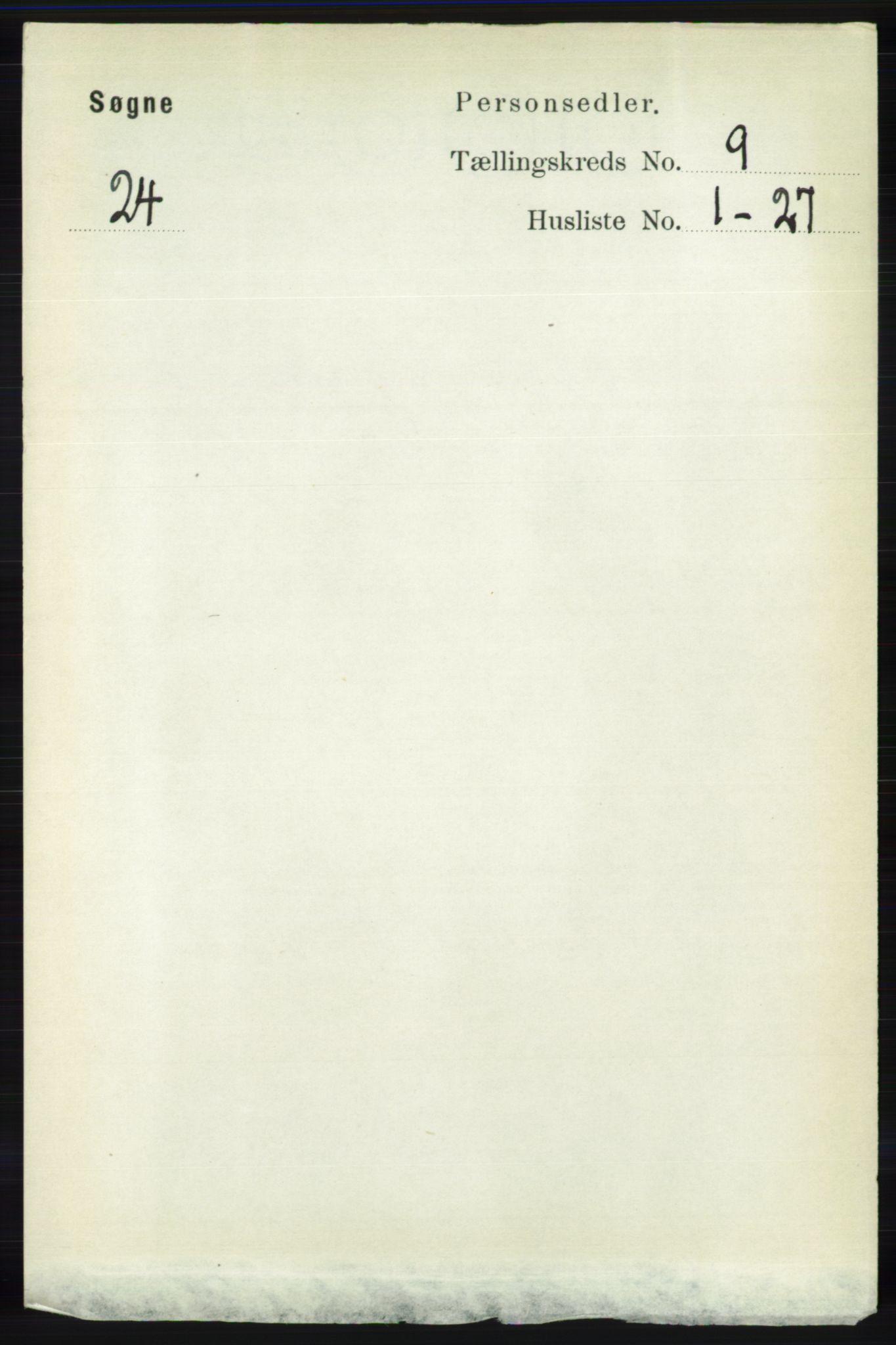 RA, Folketelling 1891 for 1018 Søgne herred, 1891, s. 2523