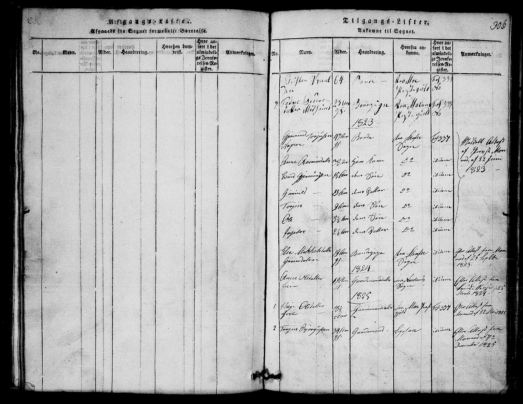 SAKO, Lårdal kirkebøker, G/Gb/L0001: Klokkerbok nr. II 1, 1815-1865, s. 306