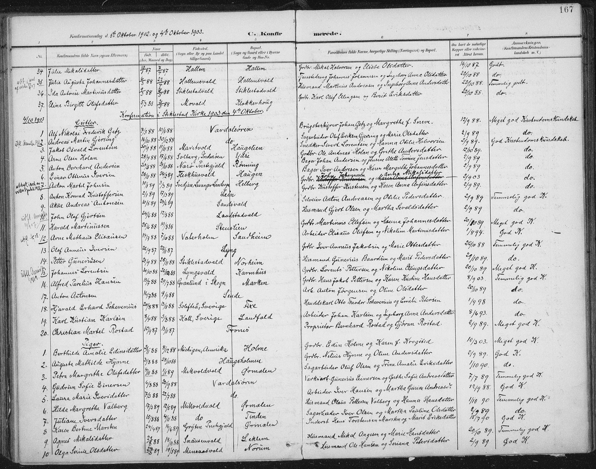 SAT, Ministerialprotokoller, klokkerbøker og fødselsregistre - Nord-Trøndelag, 723/L0246: Ministerialbok nr. 723A15, 1900-1917, s. 167