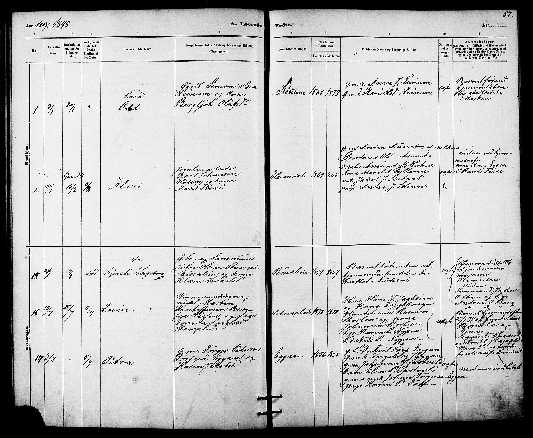 SAT, Ministerialprotokoller, klokkerbøker og fødselsregistre - Sør-Trøndelag, 613/L0395: Klokkerbok nr. 613C03, 1887-1909, s. 57