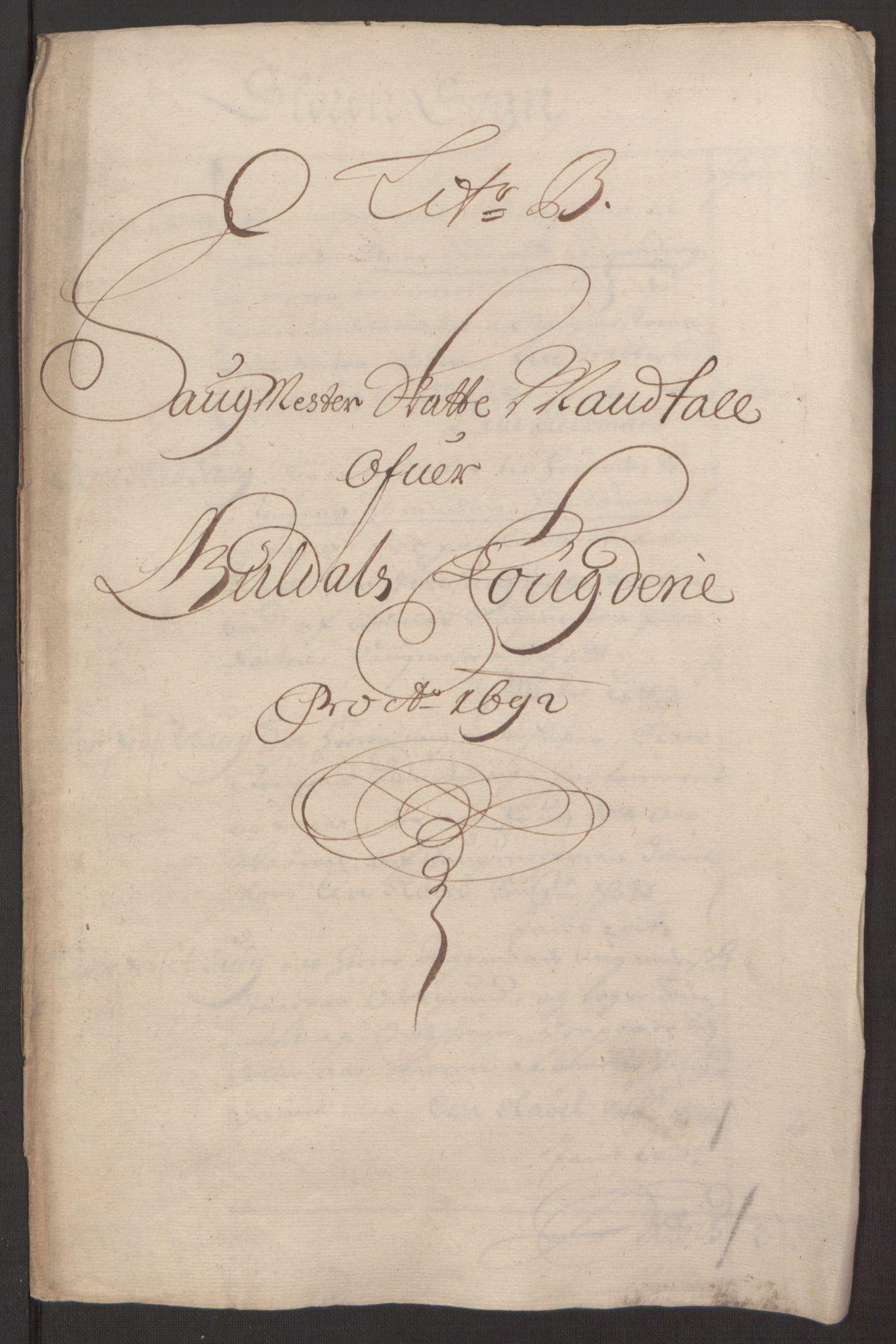 RA, Rentekammeret inntil 1814, Reviderte regnskaper, Fogderegnskap, R59/L3942: Fogderegnskap Gauldal, 1692, s. 75