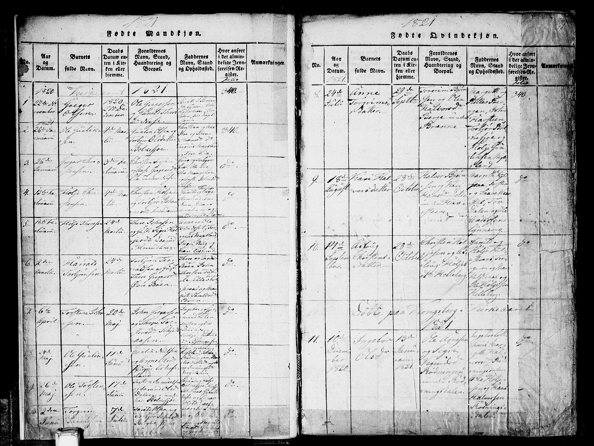 SAKO, Gransherad kirkebøker, F/Fa/L0001: Ministerialbok nr. I 1, 1815-1843, s. 11