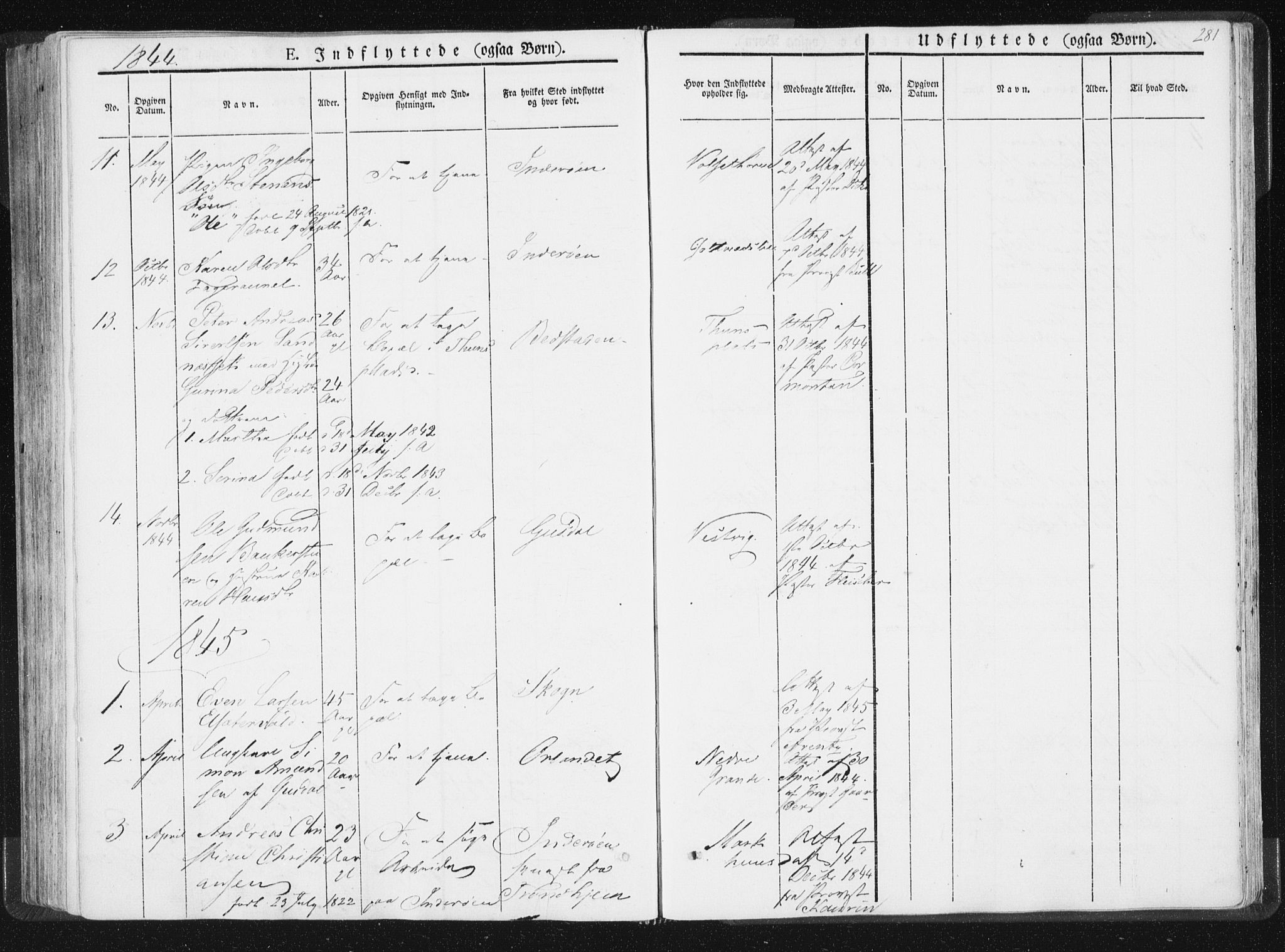 SAT, Ministerialprotokoller, klokkerbøker og fødselsregistre - Nord-Trøndelag, 744/L0418: Ministerialbok nr. 744A02, 1843-1866, s. 281