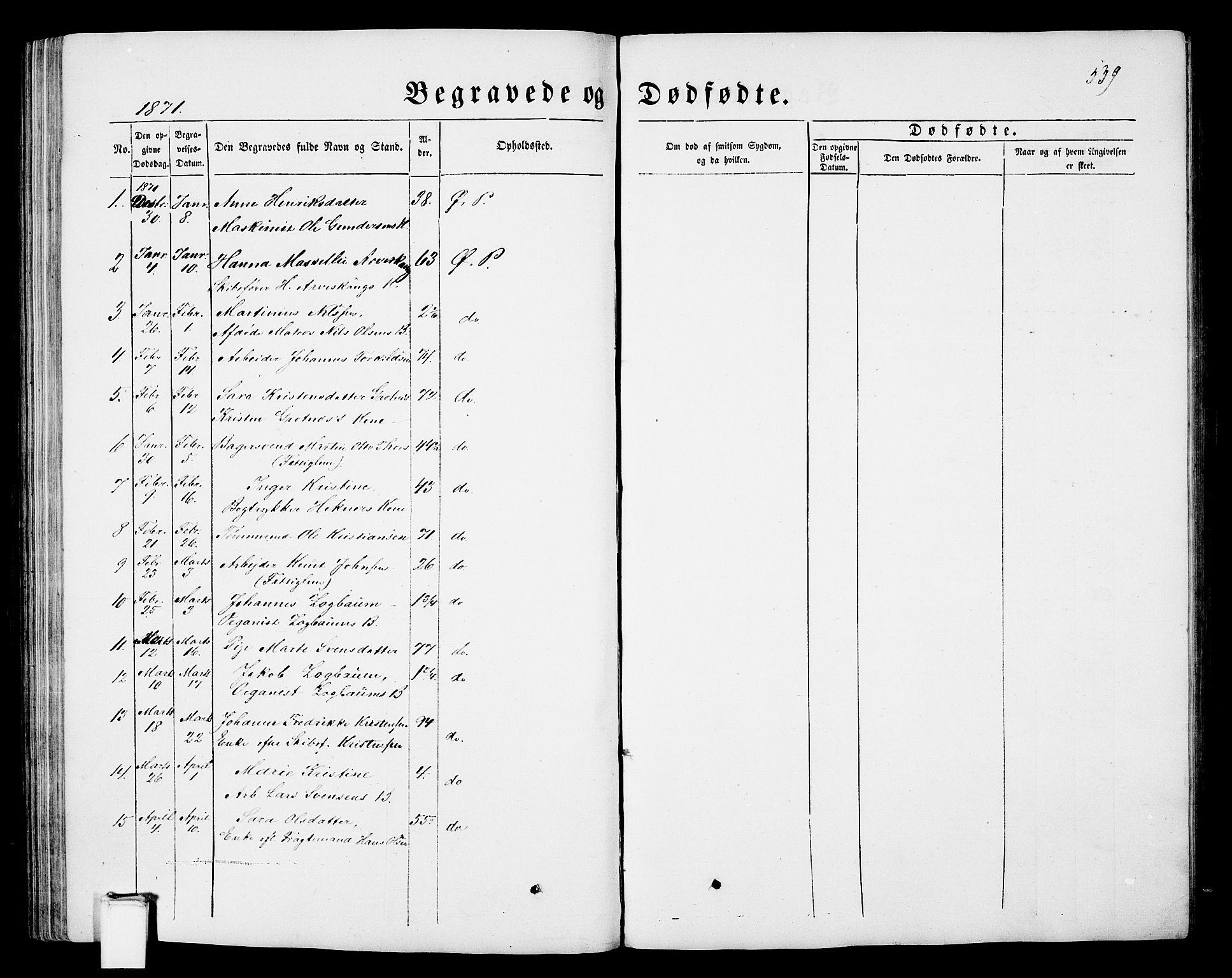 SAKO, Porsgrunn kirkebøker , G/Gb/L0004: Klokkerbok nr. II 4, 1853-1882, s. 539