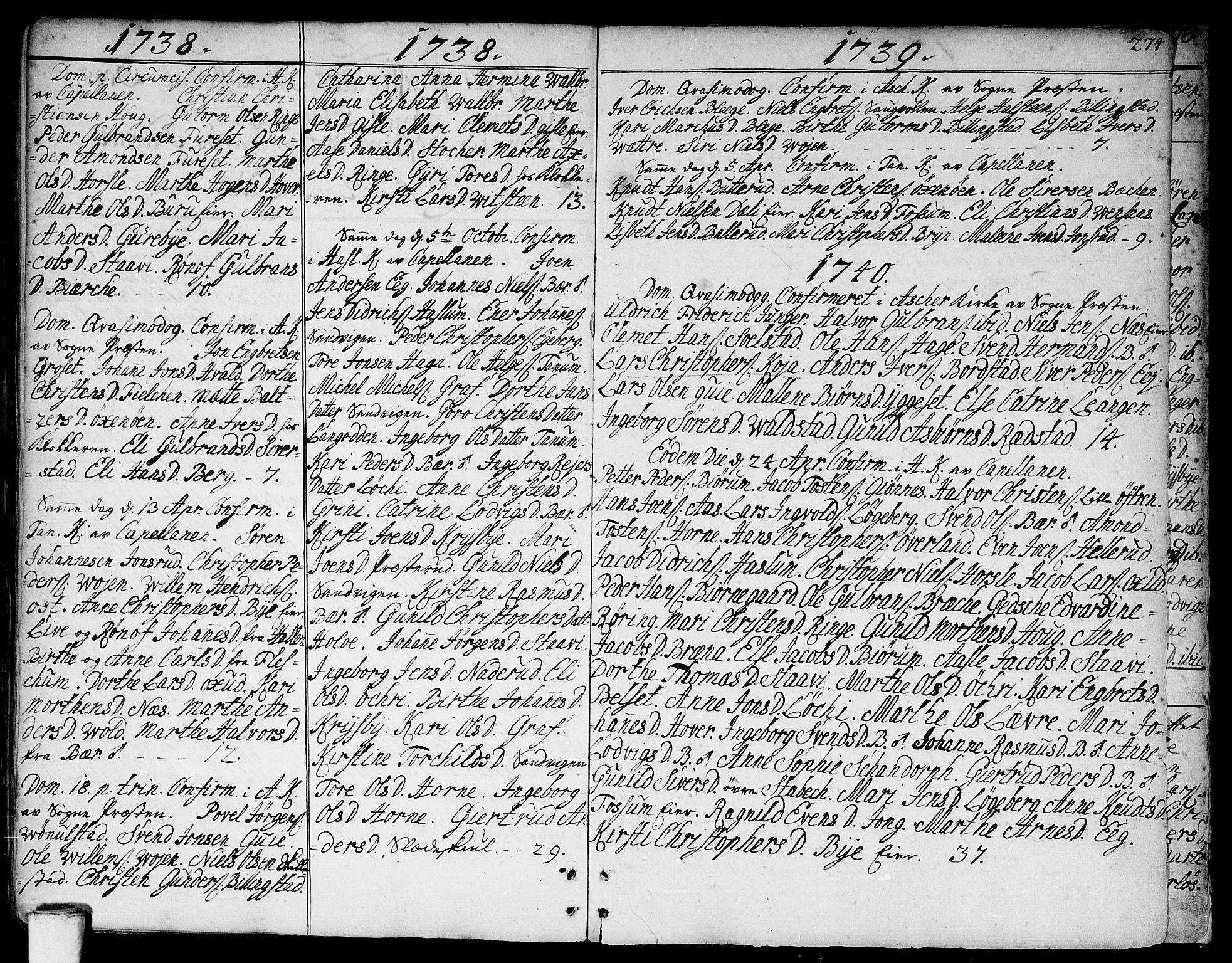 SAO, Asker prestekontor Kirkebøker, F/Fa/L0002: Ministerialbok nr. I 2, 1733-1766, s. 274