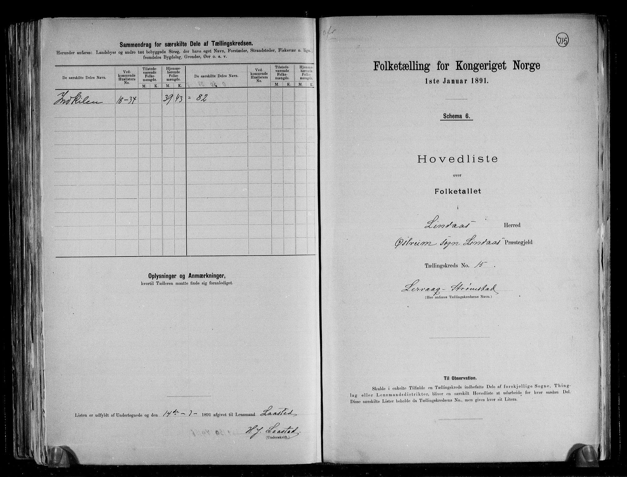 RA, Folketelling 1891 for 1263 Lindås herred, 1891, s. 33