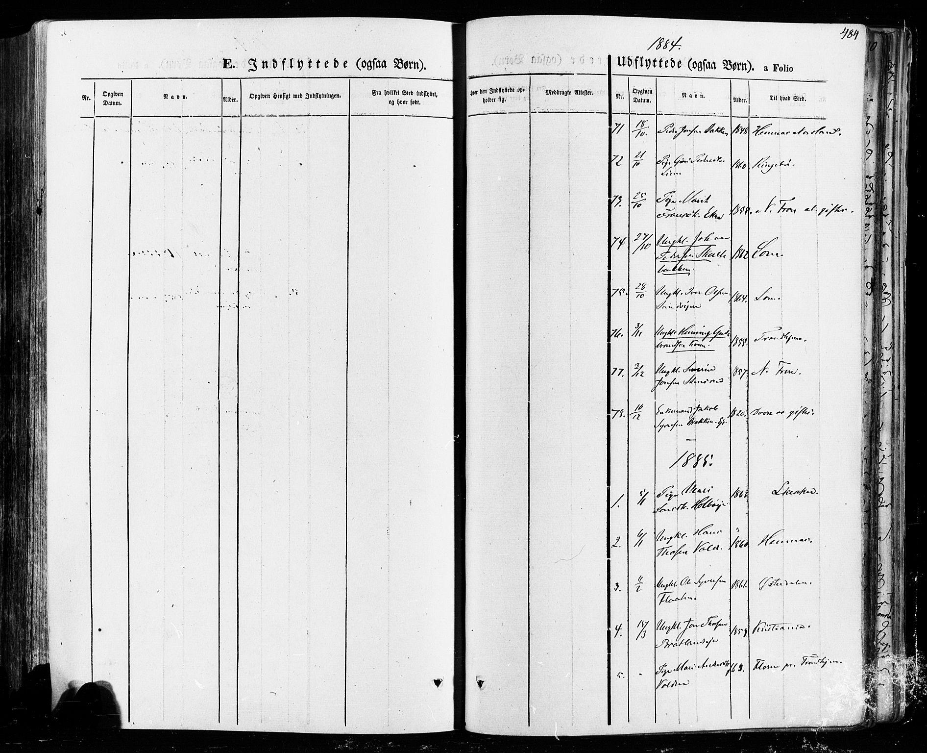 SAH, Vågå prestekontor, Ministerialbok nr. 7 /1, 1872-1886, s. 484