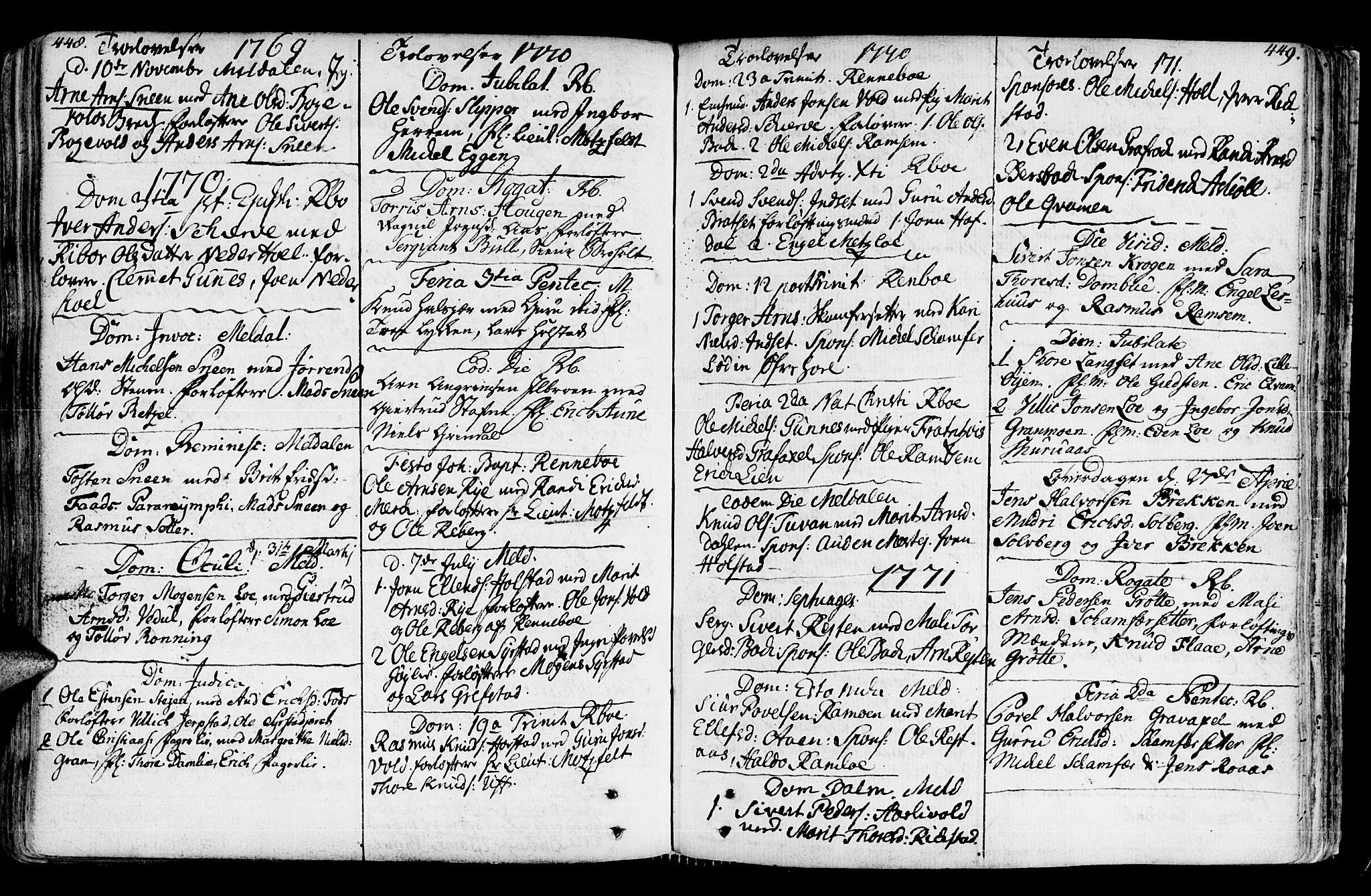 SAT, Ministerialprotokoller, klokkerbøker og fødselsregistre - Sør-Trøndelag, 672/L0851: Ministerialbok nr. 672A04, 1751-1775, s. 448-449