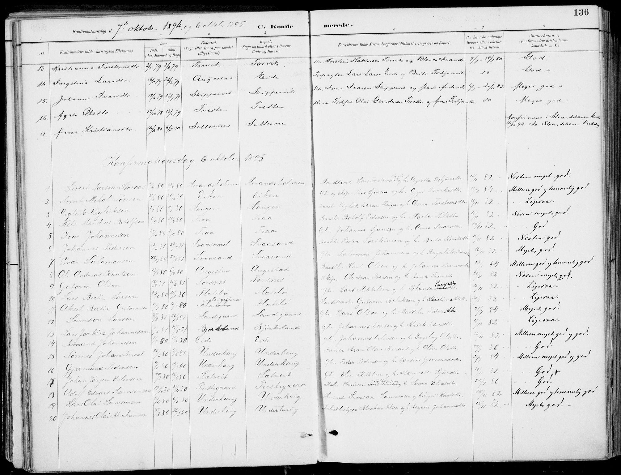 SAB, Strandebarm Sokneprestembete, H/Haa: Ministerialbok nr. E  1, 1886-1908, s. 136
