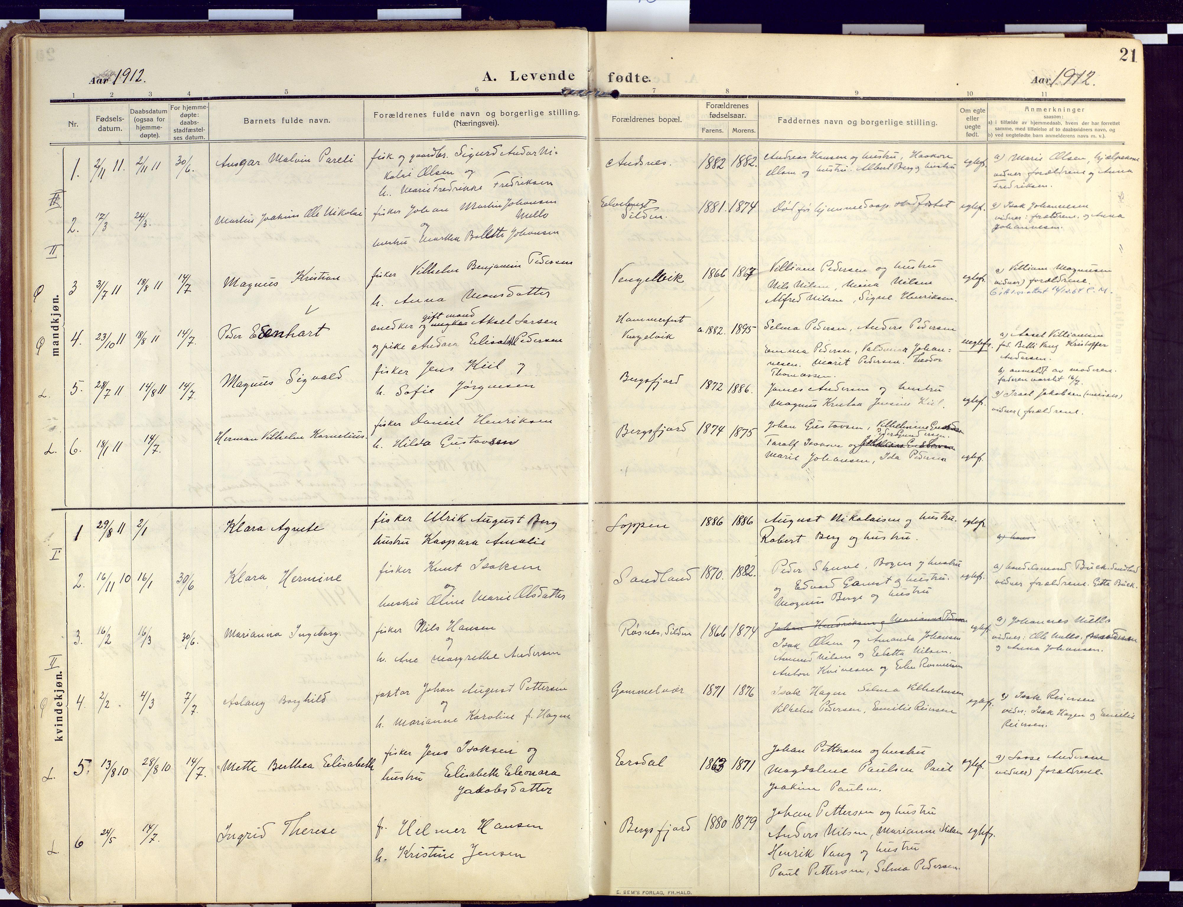 SATØ, Loppa sokneprestkontor, H/Ha/L0011kirke: Ministerialbok nr. 11, 1909-1919, s. 21