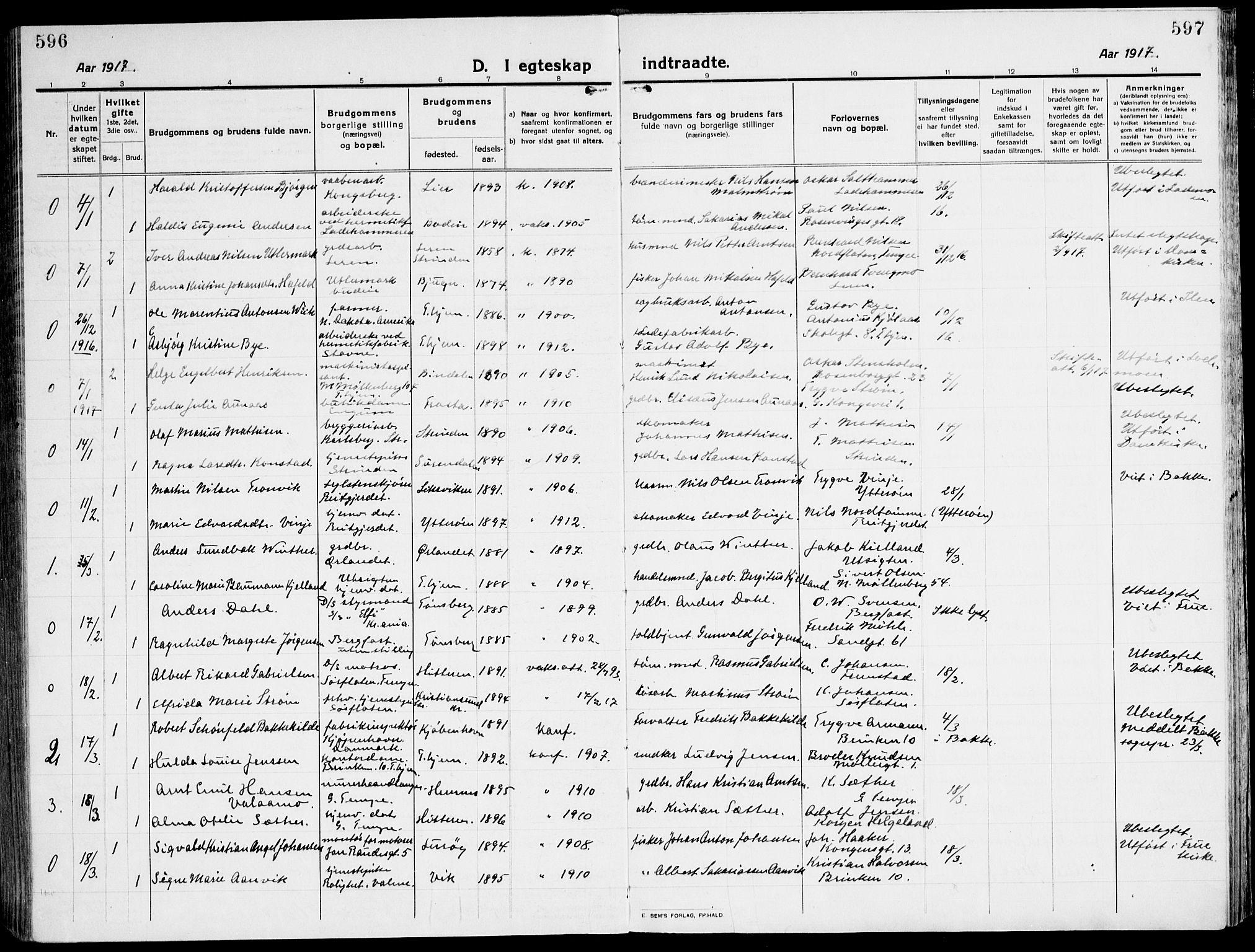 SAT, Ministerialprotokoller, klokkerbøker og fødselsregistre - Sør-Trøndelag, 607/L0321: Ministerialbok nr. 607A05, 1916-1935, s. 596-597