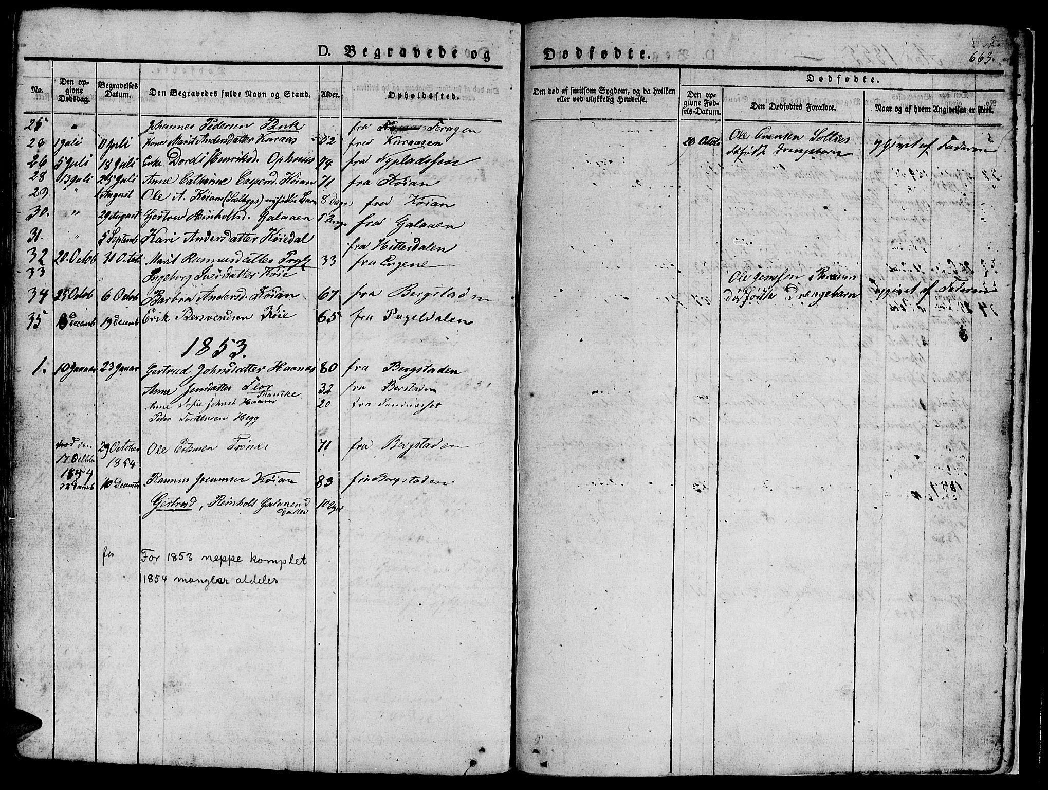 SAT, Ministerialprotokoller, klokkerbøker og fødselsregistre - Sør-Trøndelag, 681/L0939: Klokkerbok nr. 681C03, 1829-1855, s. 663