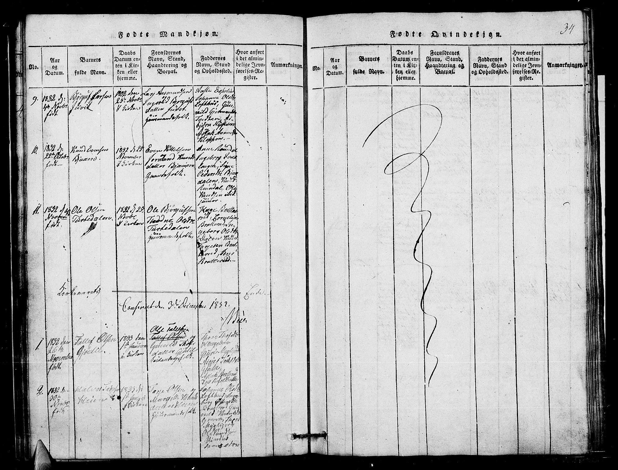 SAKO, Lårdal kirkebøker, G/Gb/L0001: Klokkerbok nr. II 1, 1815-1865, s. 34
