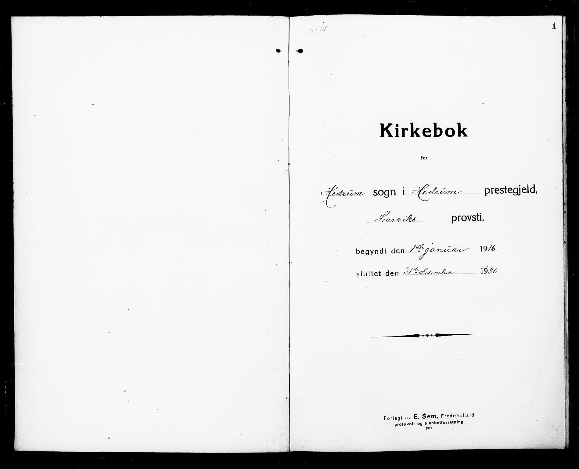 SAKO, Hedrum kirkebøker, G/Ga/L0005: Klokkerbok nr. I 5, 1916-1930, s. 1