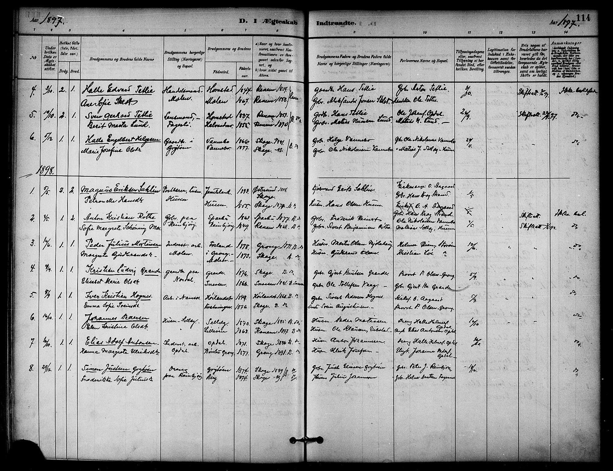 SAT, Ministerialprotokoller, klokkerbøker og fødselsregistre - Nord-Trøndelag, 766/L0563: Ministerialbok nr. 767A01, 1881-1899, s. 114