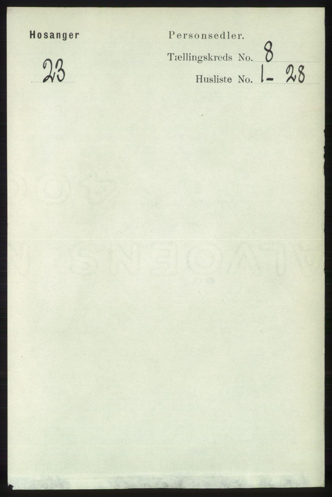 RA, Folketelling 1891 for 1253 Hosanger herred, 1891, s. 2951