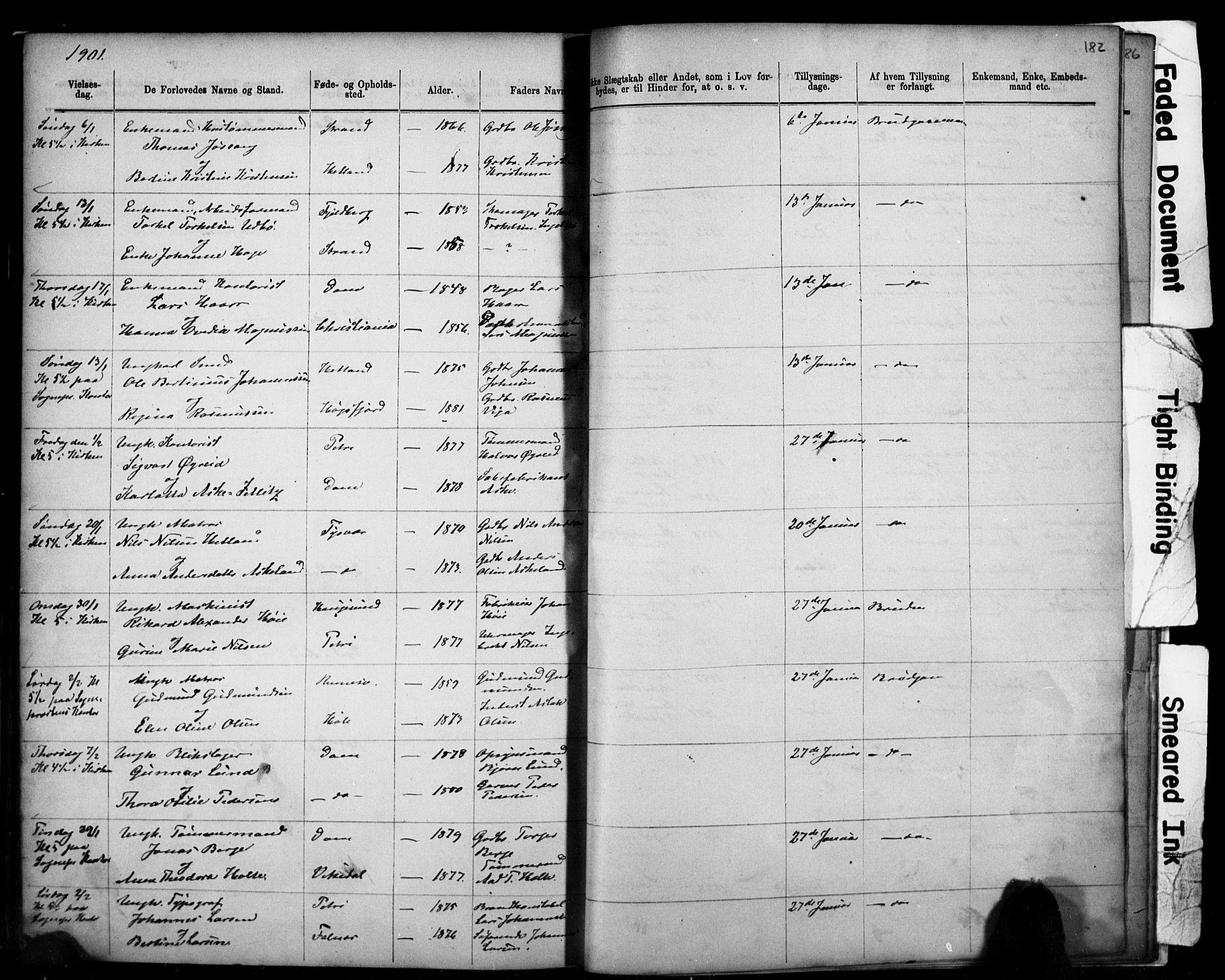 SAST, Domkirken sokneprestkontor, 30/30BB/L0014: Klokkerbok nr. B 14, 1875-1902, s. 182