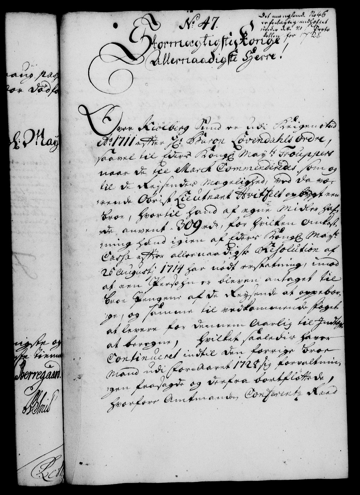 RA, Rentekammeret, Kammerkanselliet, G/Gf/Gfa/L0012: Norsk relasjons- og resolusjonsprotokoll (merket RK 52.12), 1729, s. 255