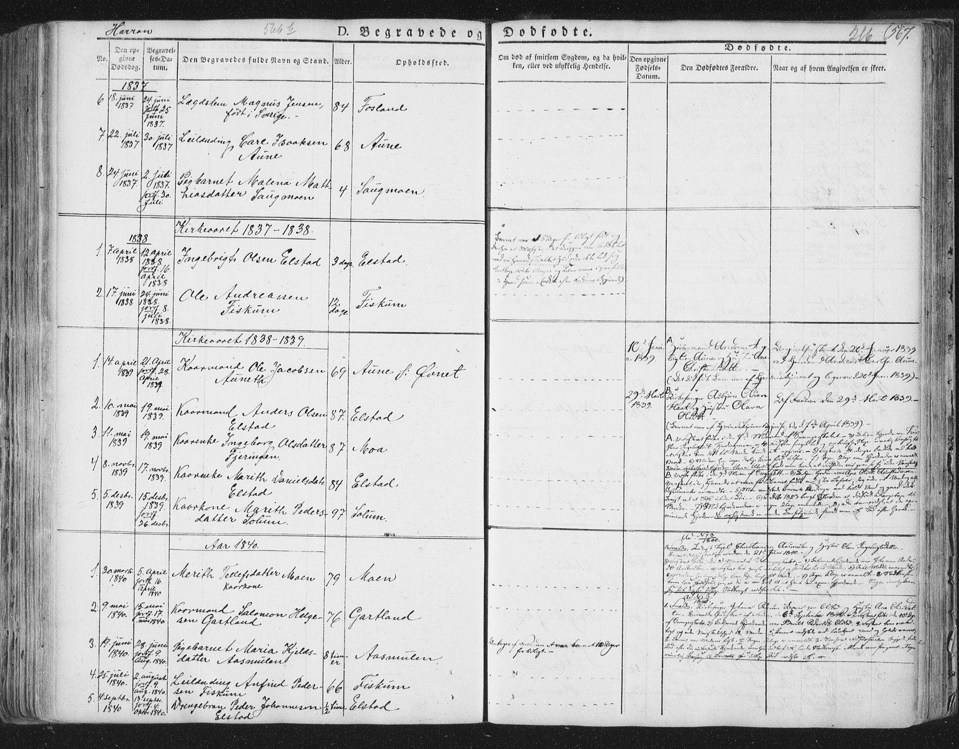 SAT, Ministerialprotokoller, klokkerbøker og fødselsregistre - Nord-Trøndelag, 758/L0513: Ministerialbok nr. 758A02 /3, 1839-1868, s. 216