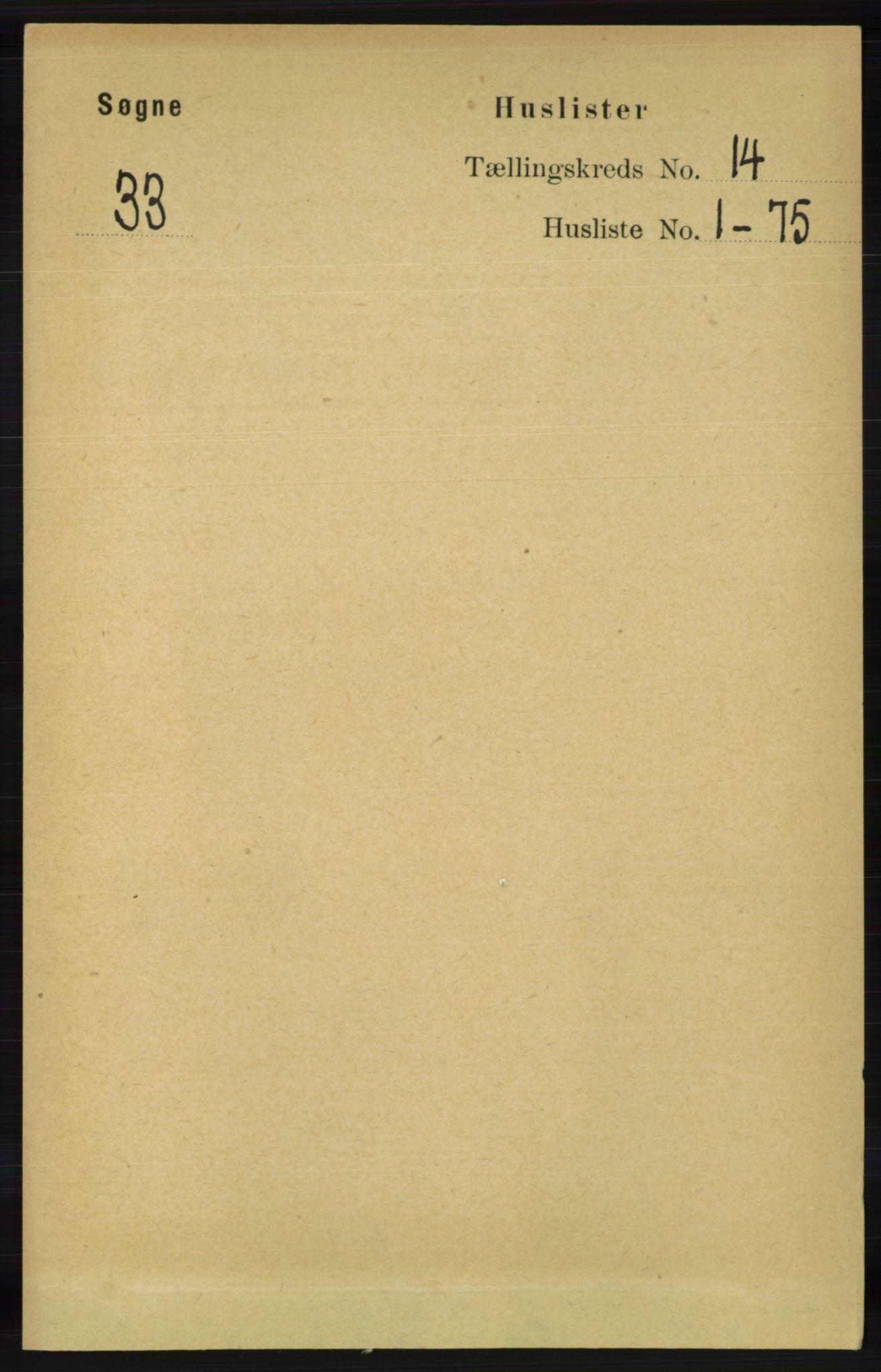 RA, Folketelling 1891 for 1018 Søgne herred, 1891, s. 3326