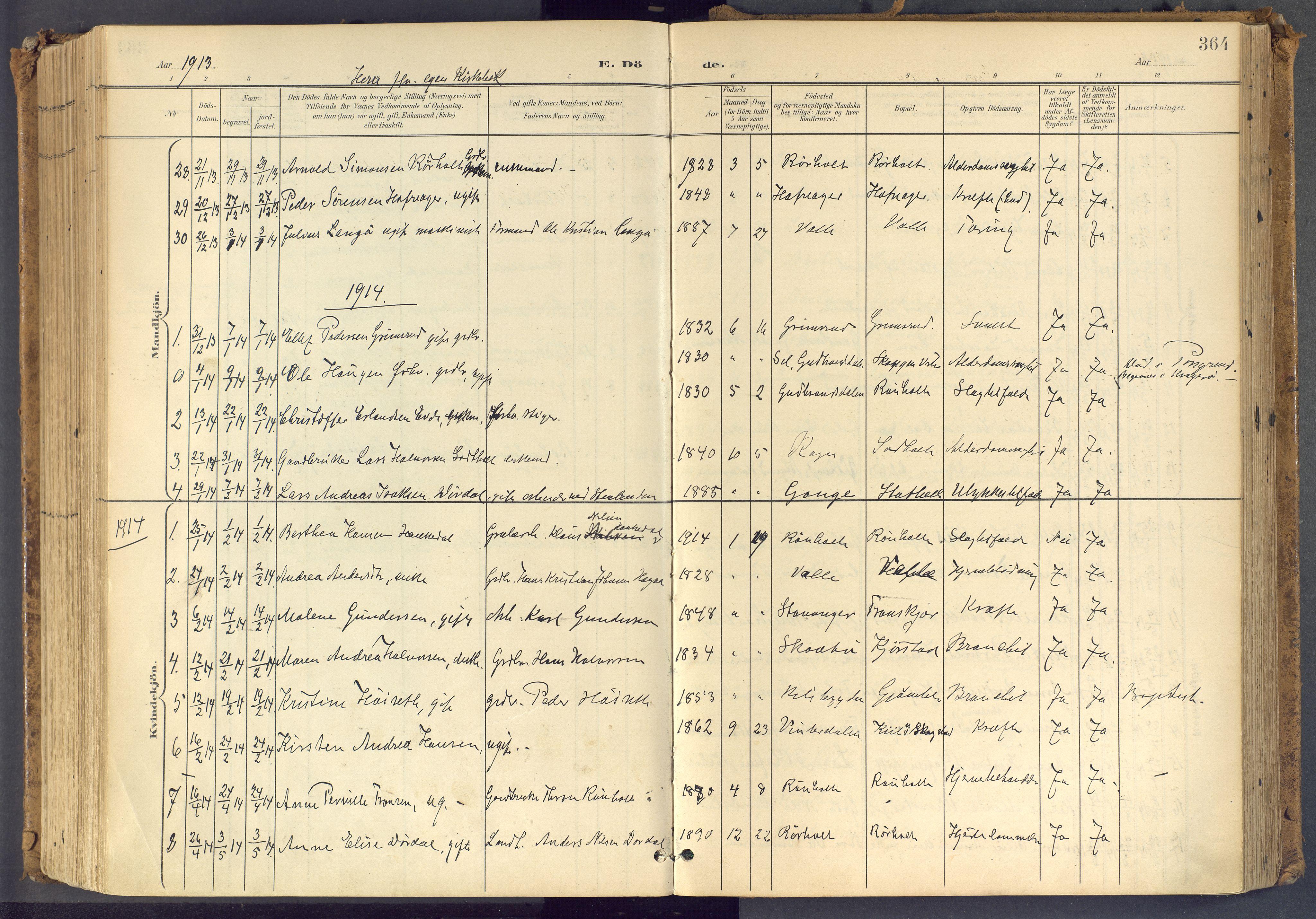 SAKO, Bamble kirkebøker, F/Fa/L0009: Ministerialbok nr. I 9, 1901-1917, s. 364