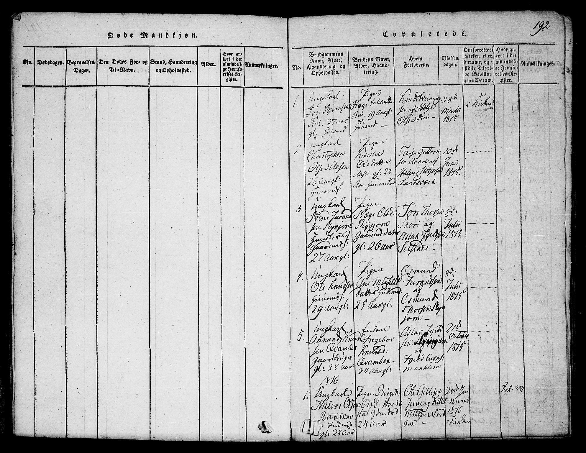 SAKO, Seljord kirkebøker, F/Fc/L0001: Ministerialbok nr. III 1, 1815-1831, s. 192