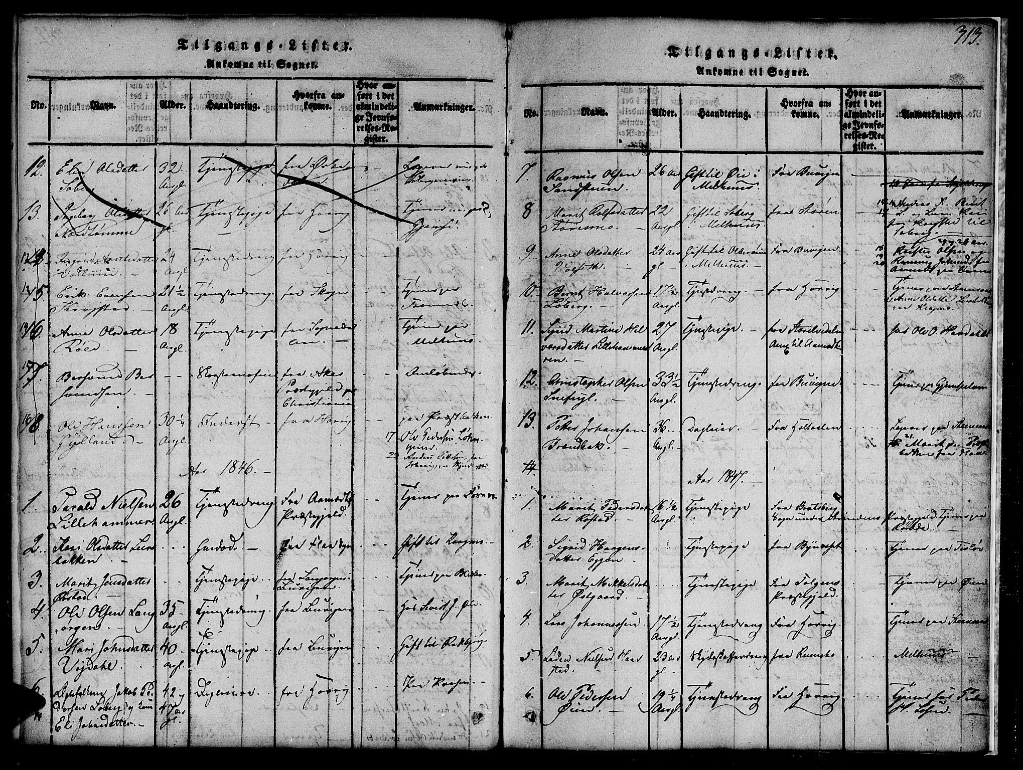 SAT, Ministerialprotokoller, klokkerbøker og fødselsregistre - Sør-Trøndelag, 691/L1092: Klokkerbok nr. 691C03, 1816-1852, s. 313