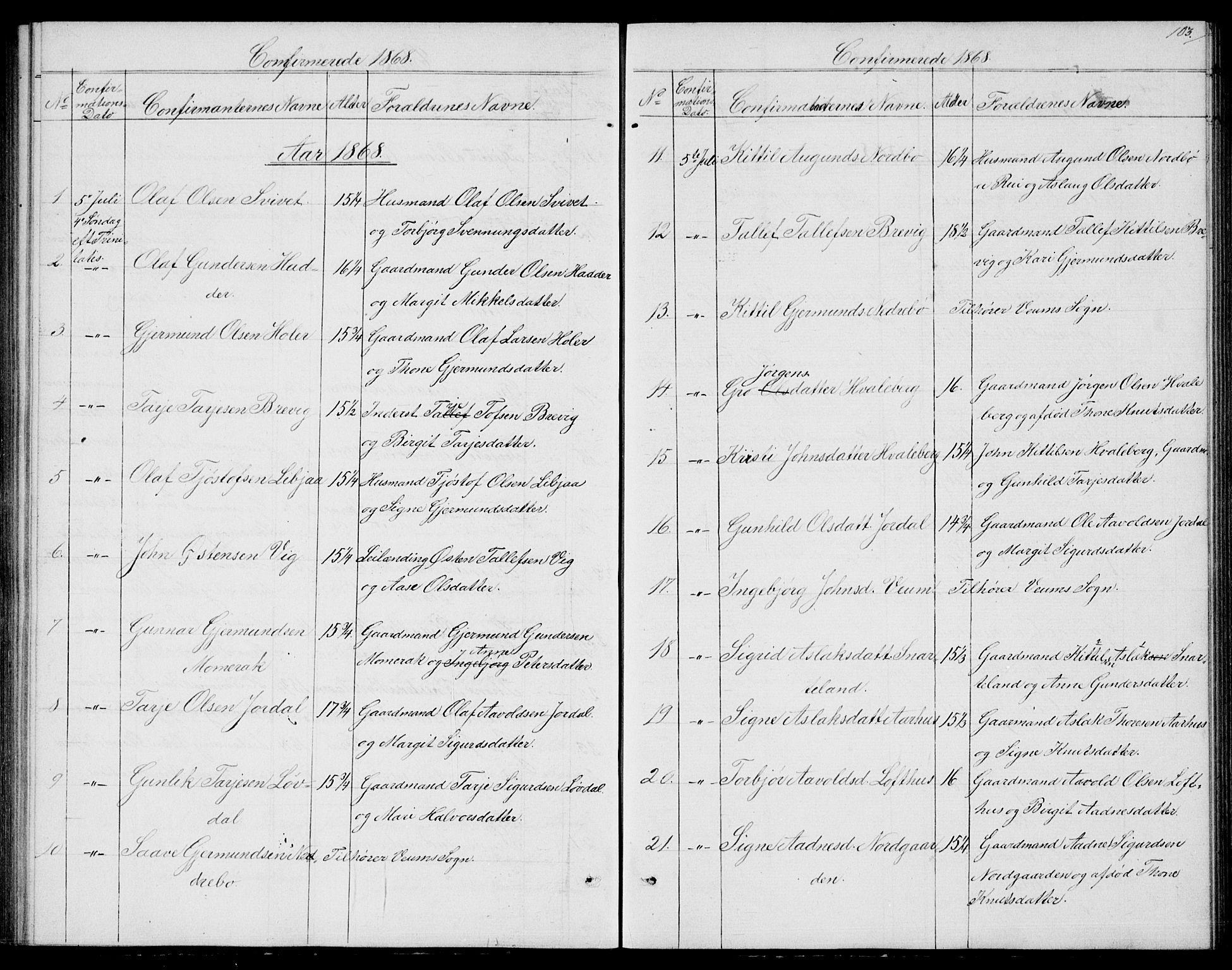 SAKO, Fyresdal kirkebøker, G/Ga/L0004: Klokkerbok nr. I 4, 1864-1892, s. 103
