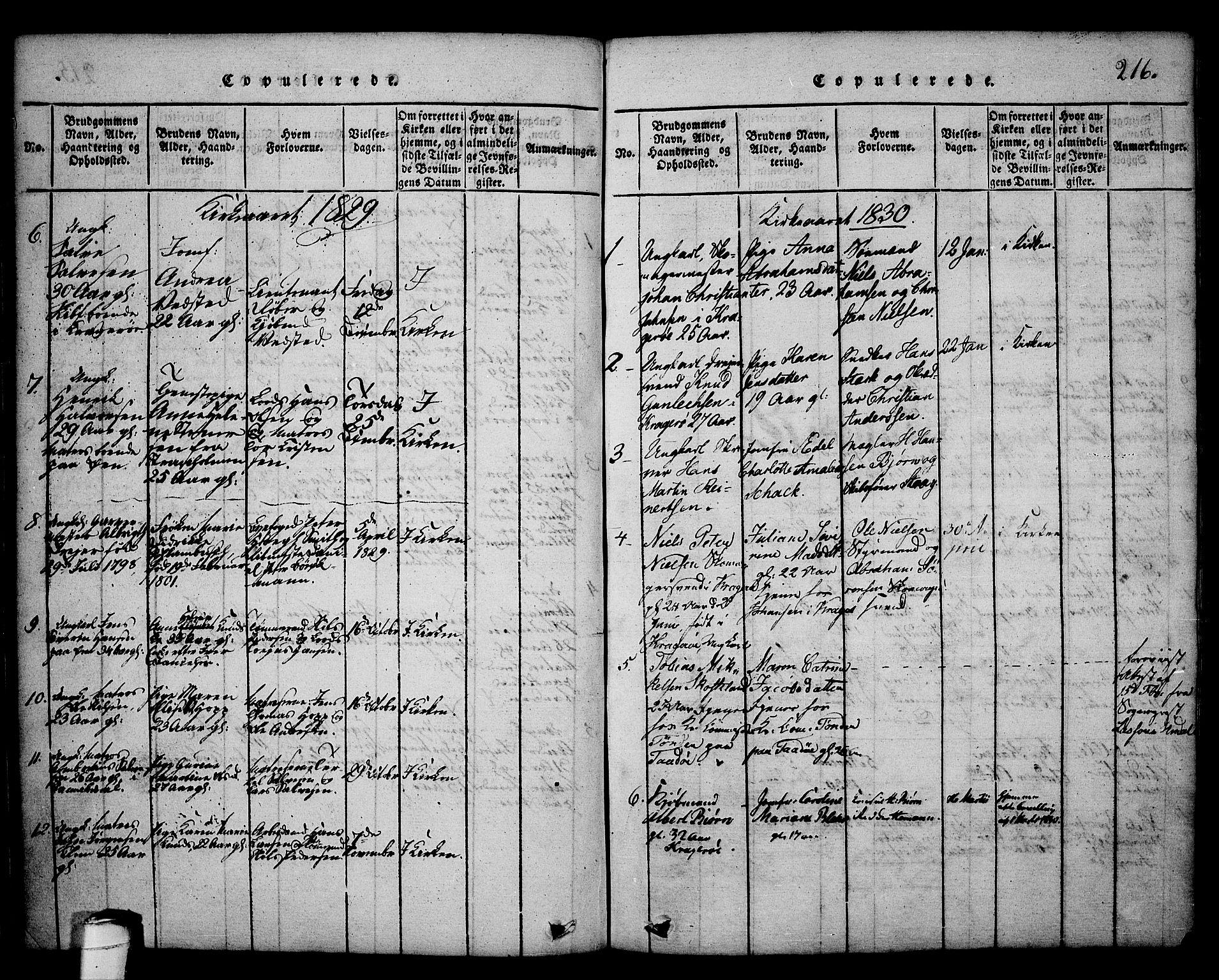 SAKO, Kragerø kirkebøker, G/Ga/L0002: Klokkerbok nr. 2, 1814-1831, s. 216