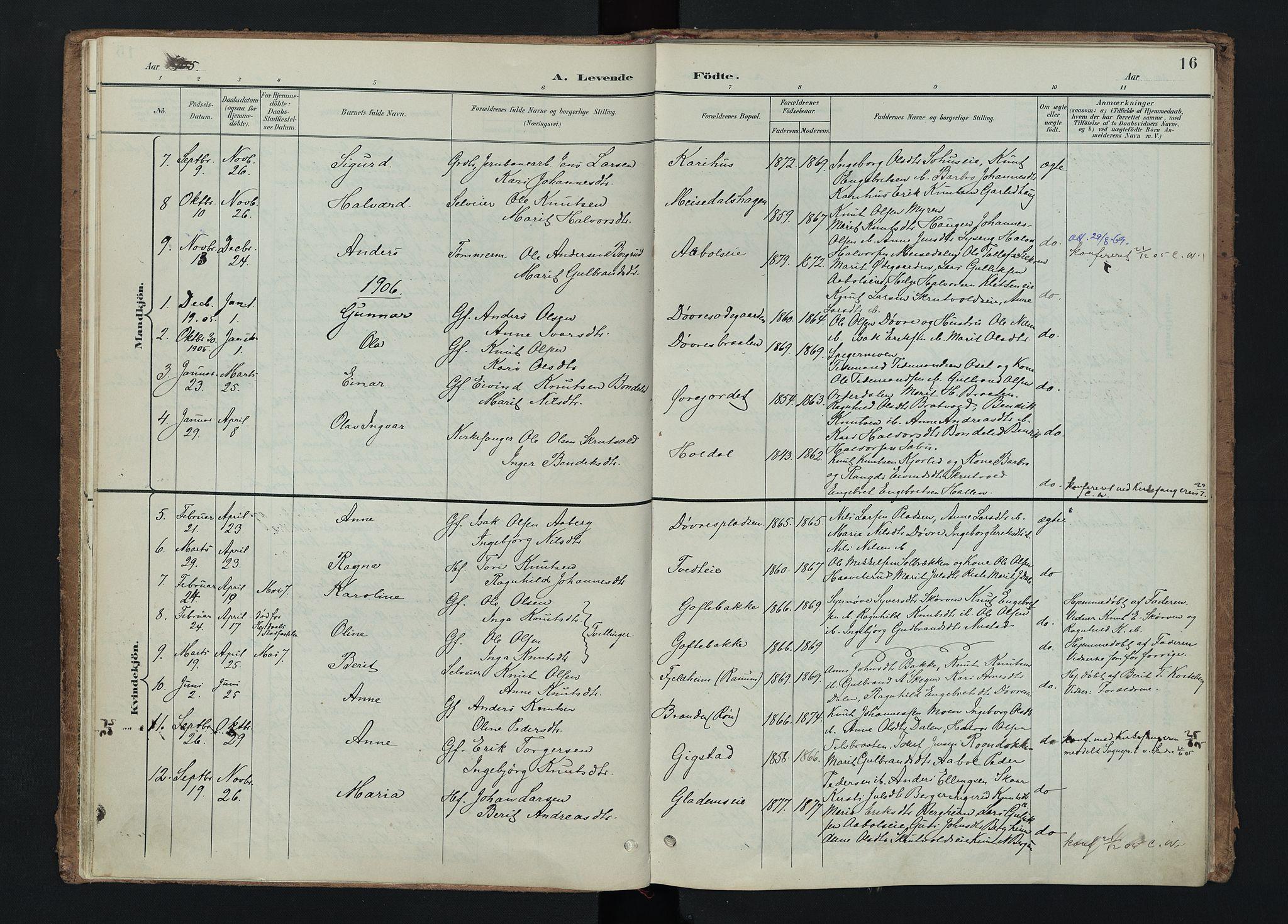 SAH, Nord-Aurdal prestekontor, Ministerialbok nr. 15, 1896-1914, s. 16