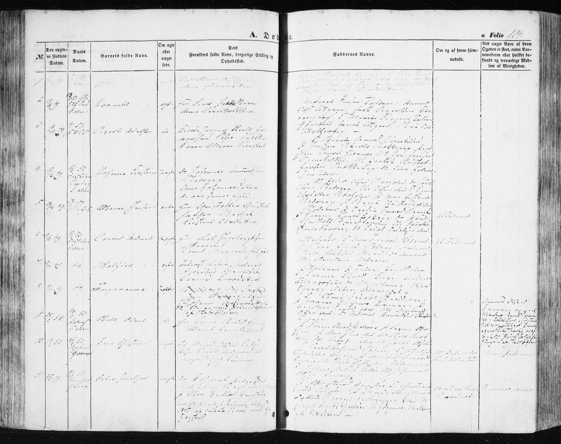 SAT, Ministerialprotokoller, klokkerbøker og fødselsregistre - Sør-Trøndelag, 634/L0529: Ministerialbok nr. 634A05, 1843-1851, s. 114