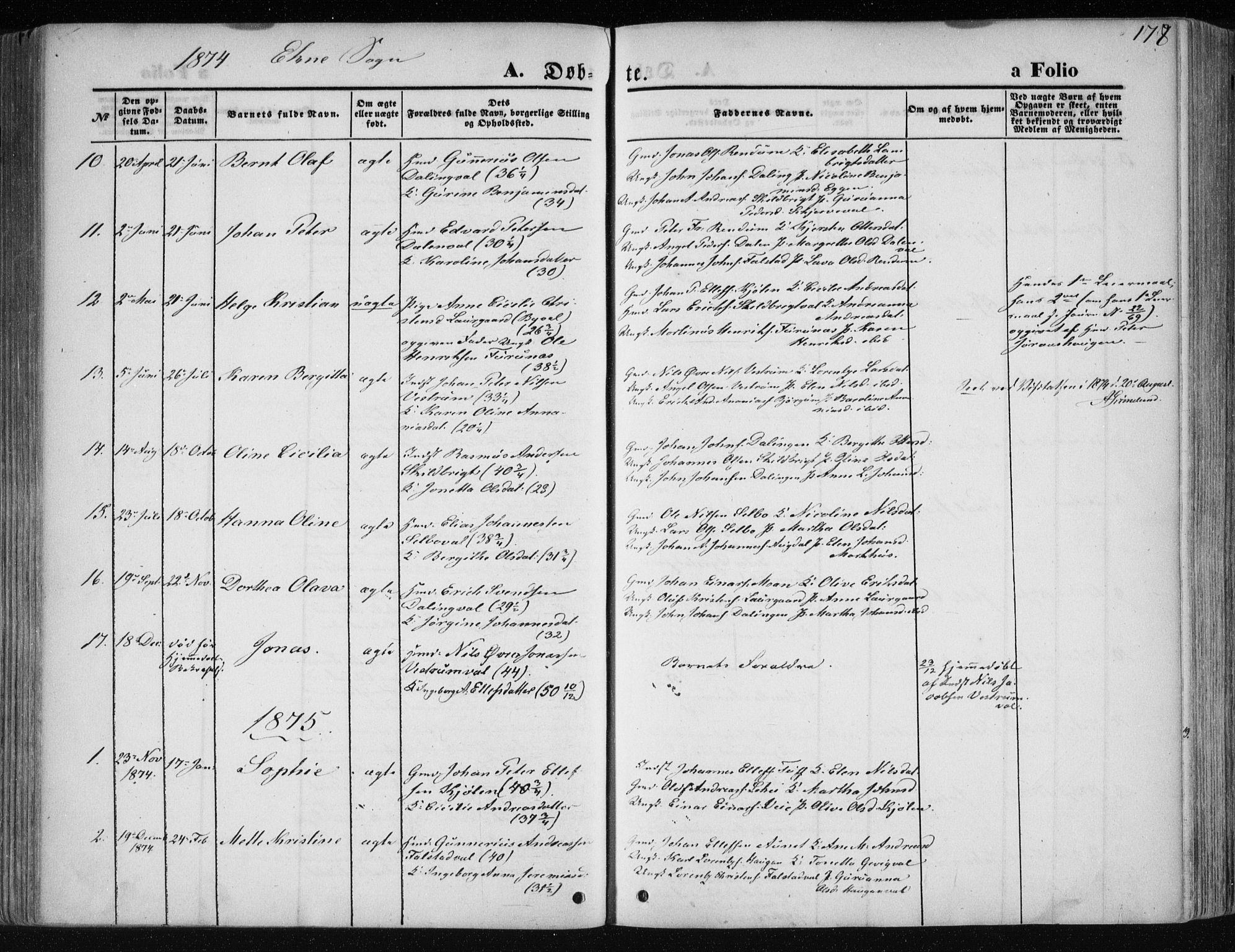 SAT, Ministerialprotokoller, klokkerbøker og fødselsregistre - Nord-Trøndelag, 717/L0158: Ministerialbok nr. 717A08 /2, 1863-1877, s. 178