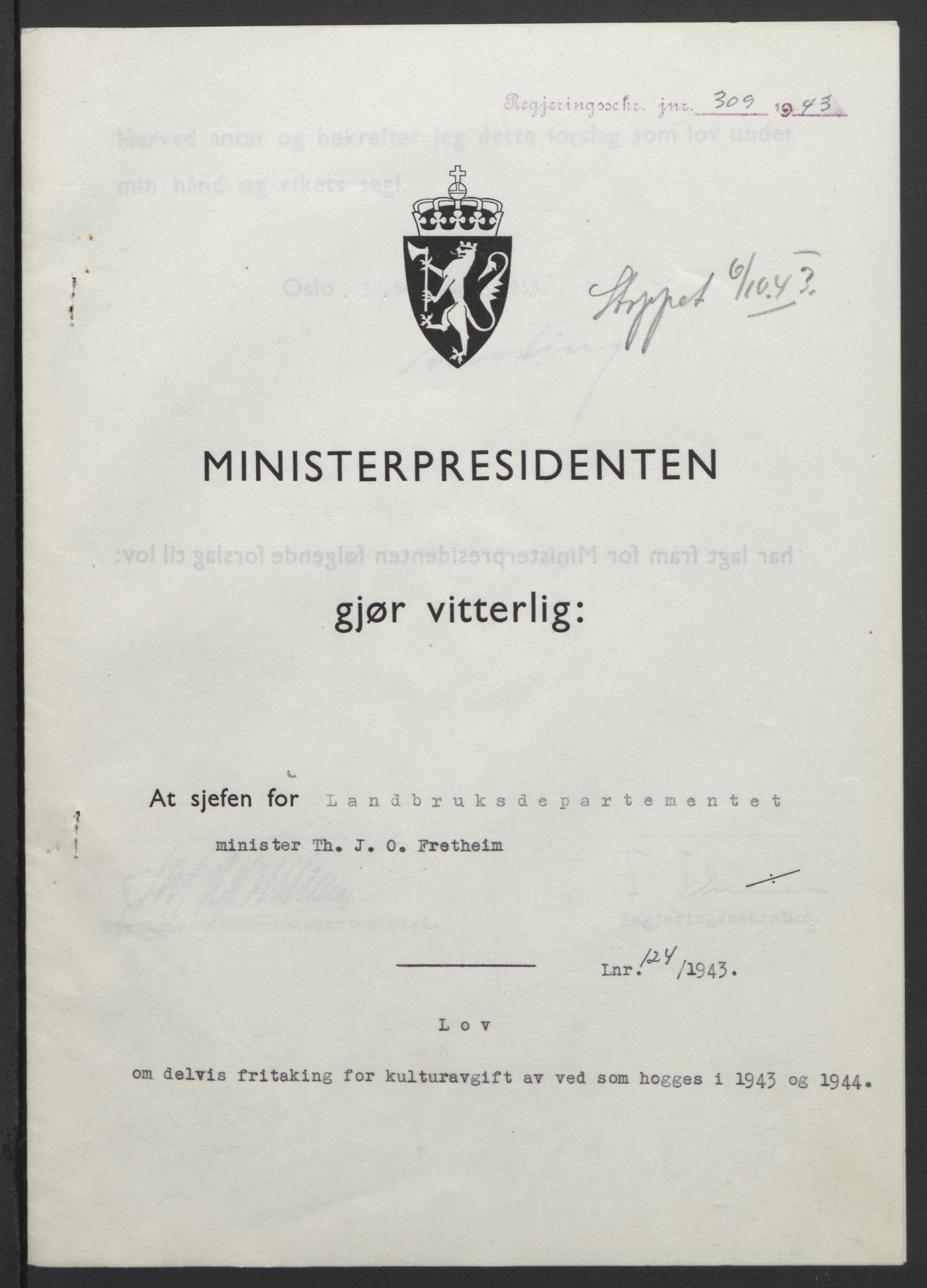 RA, NS-administrasjonen 1940-1945 (Statsrådsekretariatet, de kommisariske statsråder mm), D/Db/L0099: Lover, 1943, s. 576