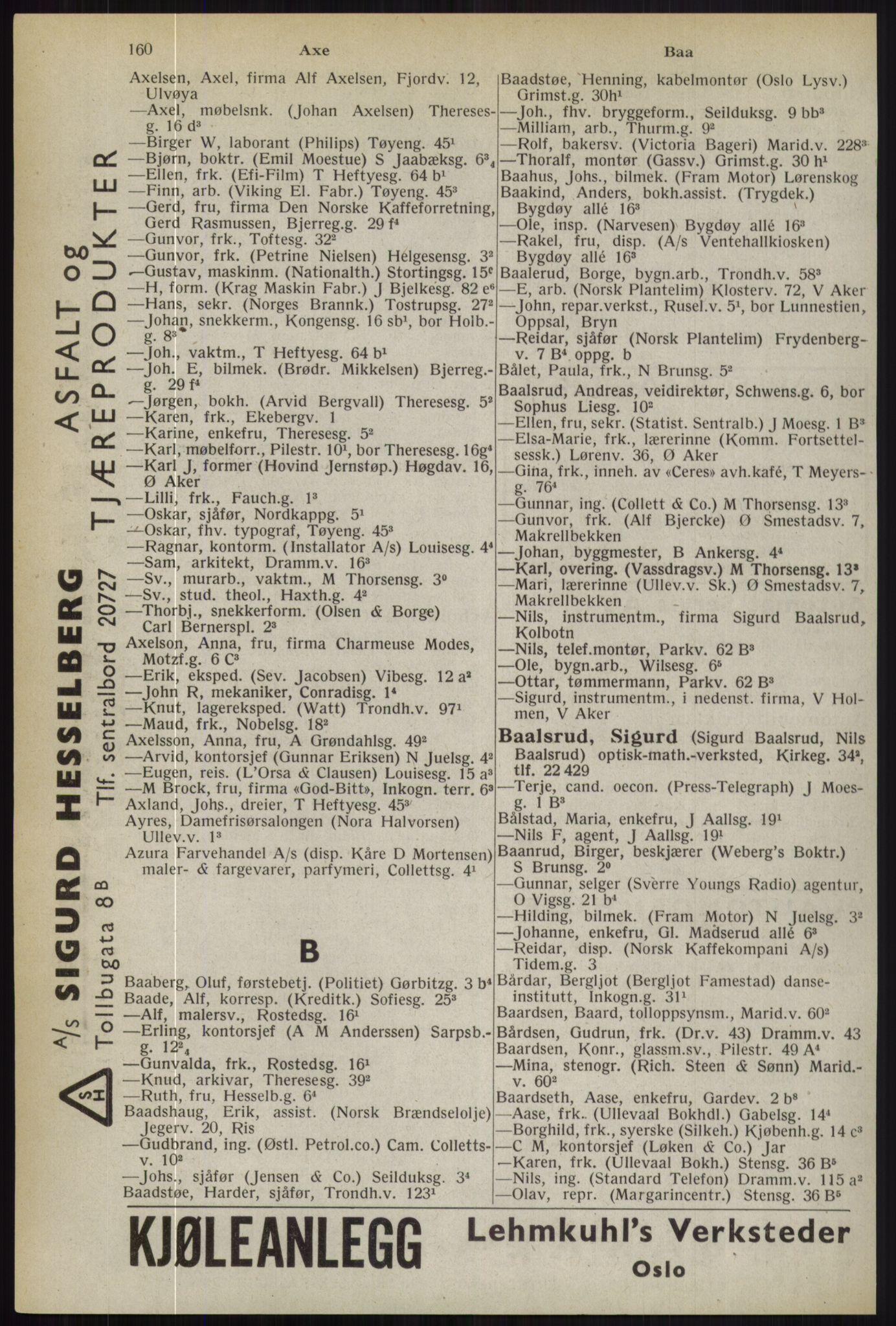 RA, Oslo adressebok (publikasjon)*, 1944, s. 160