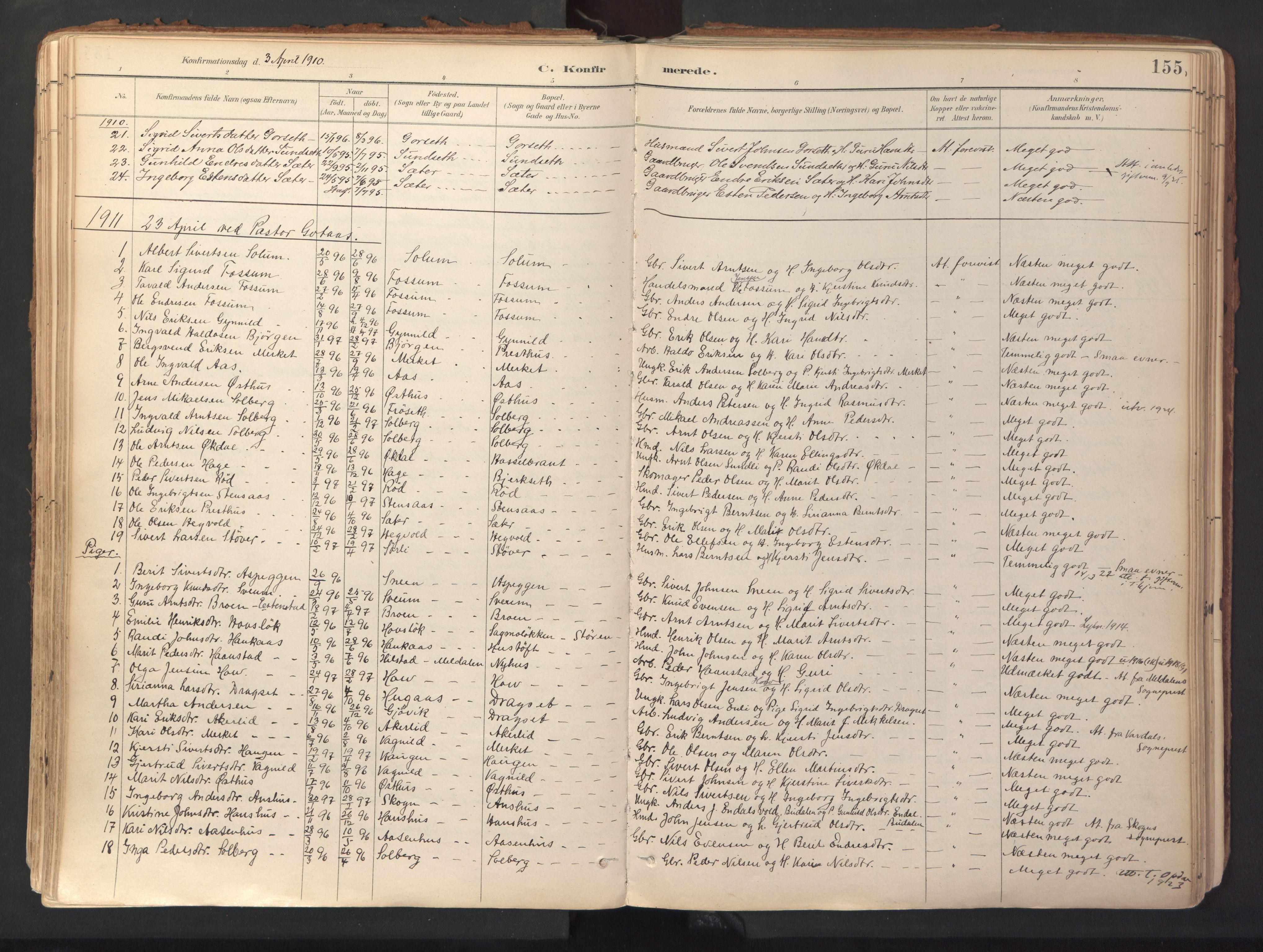 SAT, Ministerialprotokoller, klokkerbøker og fødselsregistre - Sør-Trøndelag, 689/L1041: Ministerialbok nr. 689A06, 1891-1923, s. 155