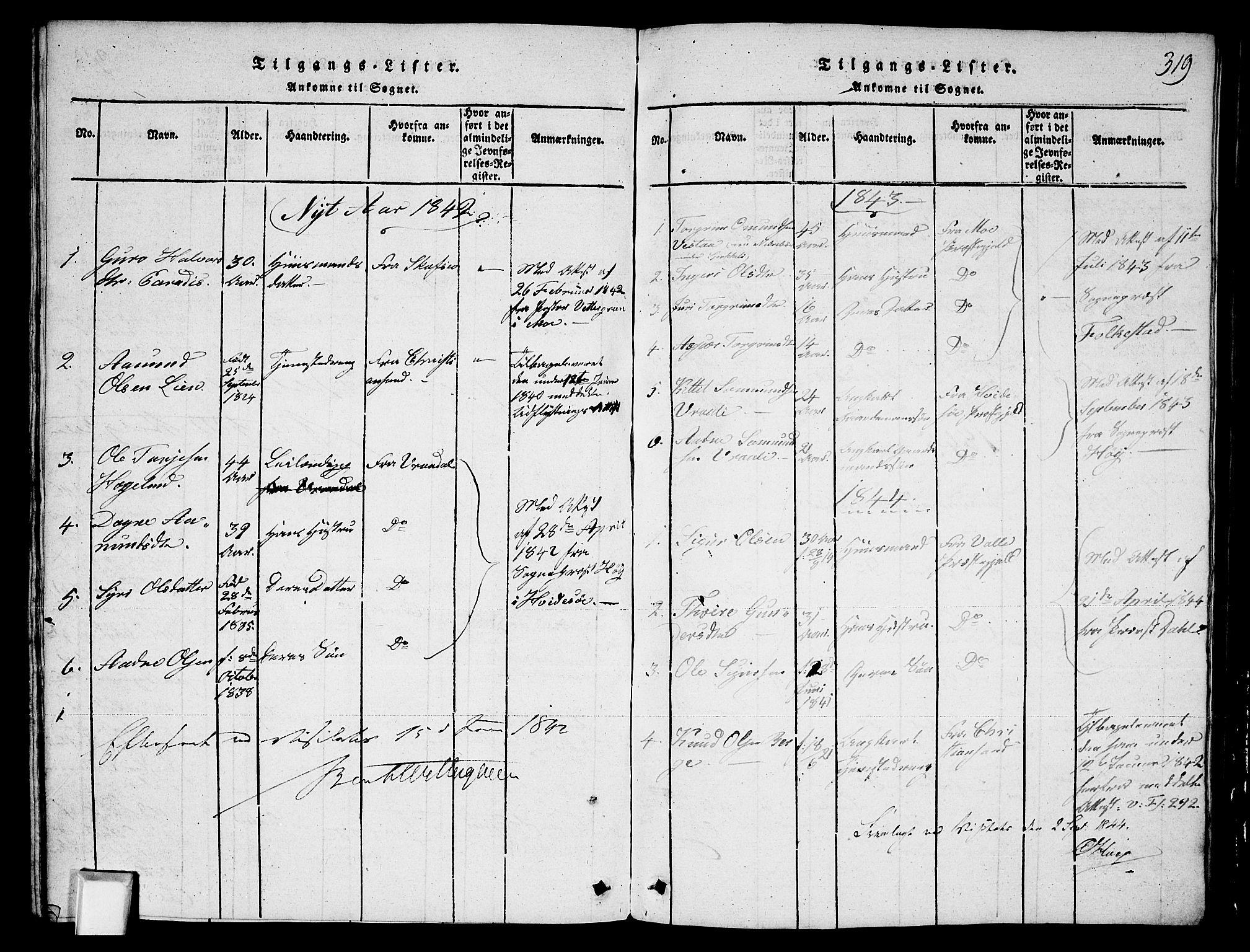 SAKO, Fyresdal kirkebøker, G/Ga/L0003: Klokkerbok nr. I 3, 1815-1863, s. 319
