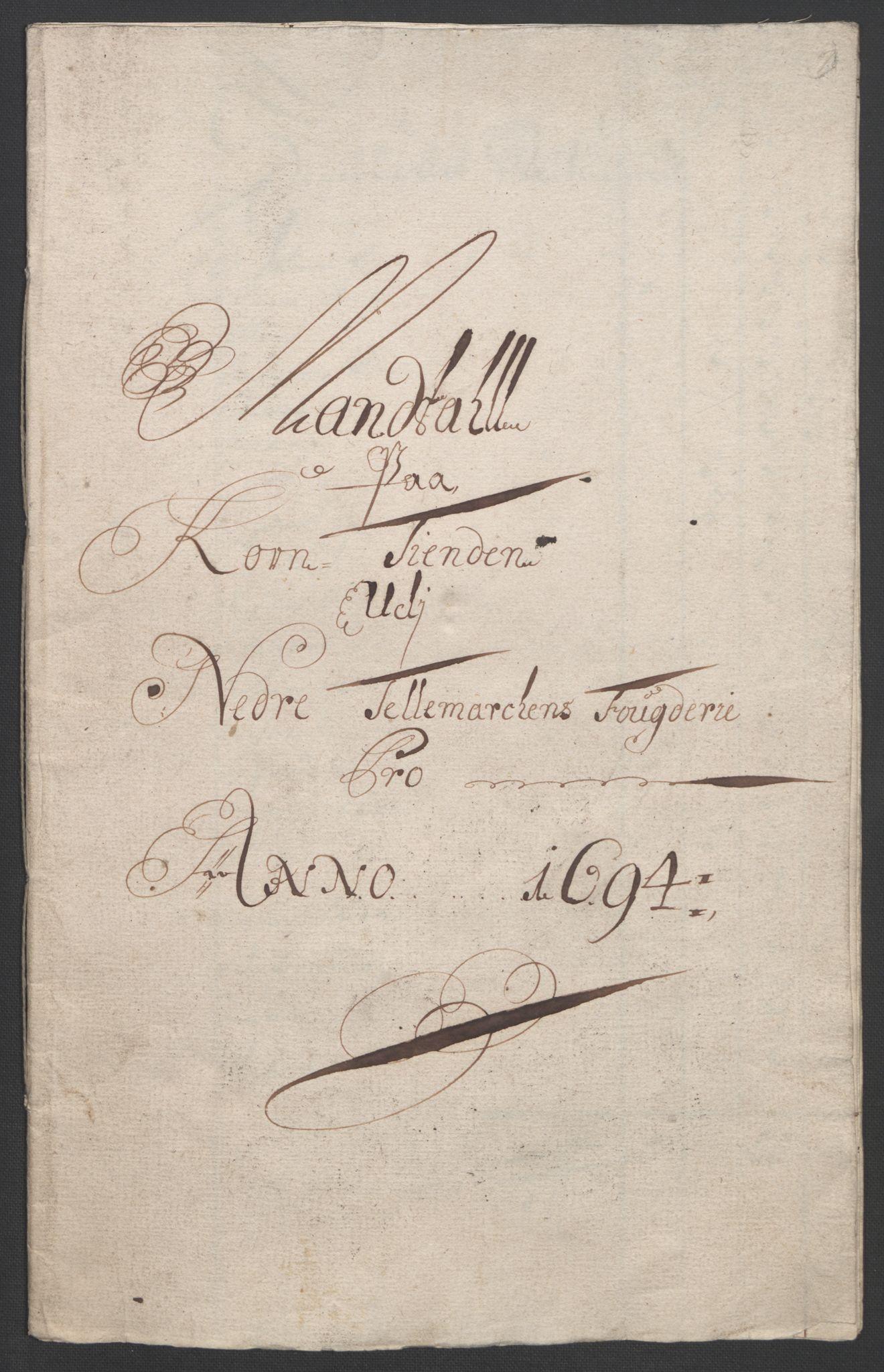 RA, Rentekammeret inntil 1814, Reviderte regnskaper, Fogderegnskap, R36/L2092: Fogderegnskap Øvre og Nedre Telemark og Bamble, 1694, s. 23