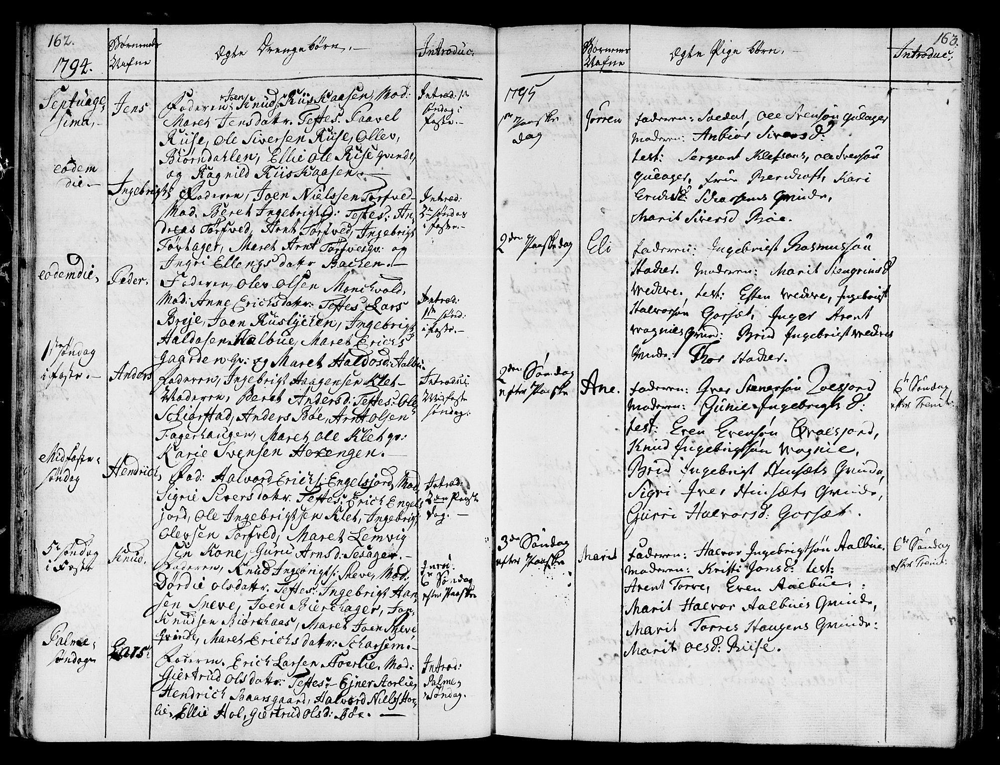 SAT, Ministerialprotokoller, klokkerbøker og fødselsregistre - Sør-Trøndelag, 678/L0893: Ministerialbok nr. 678A03, 1792-1805, s. 162-163