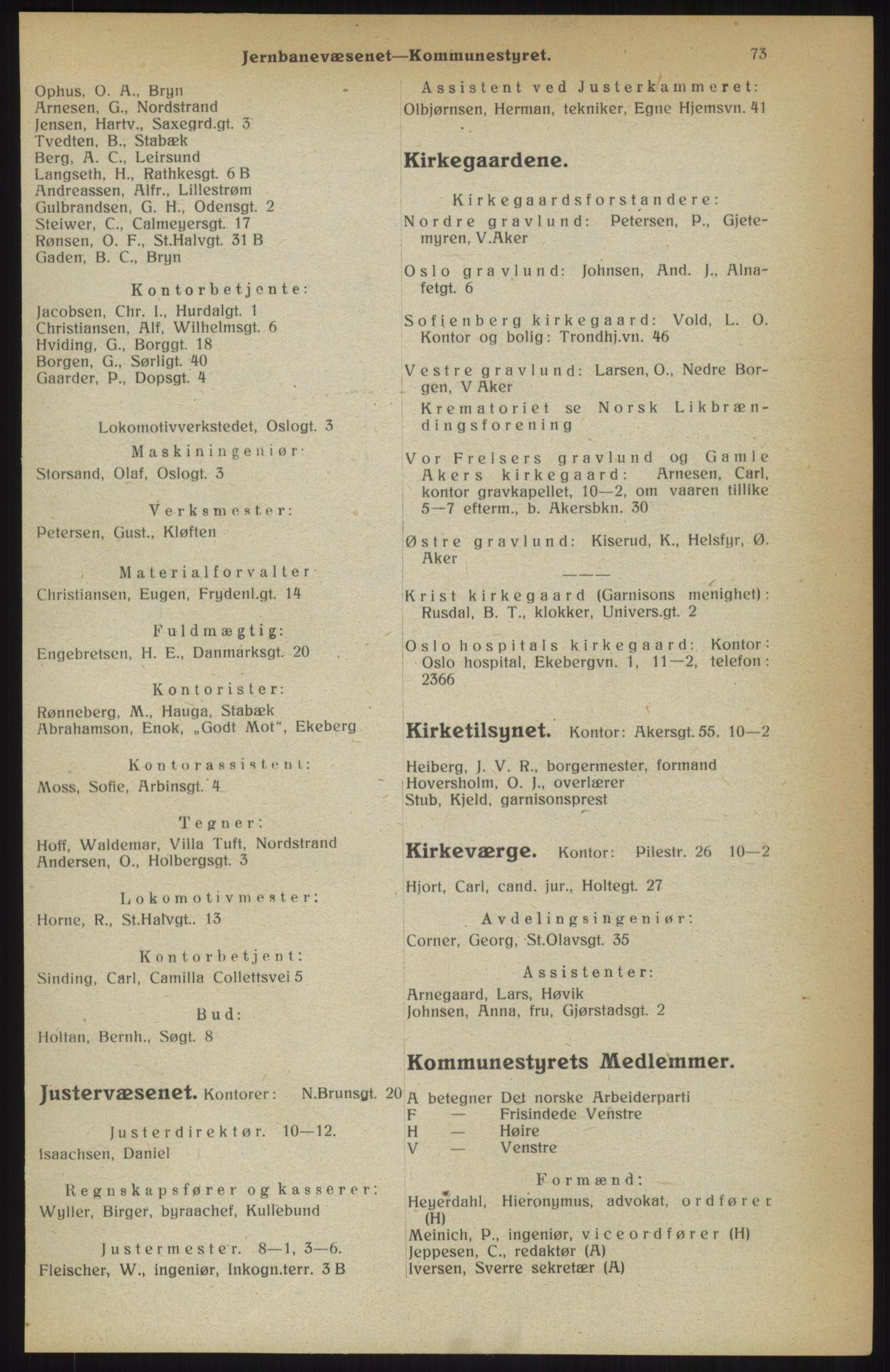 RA, Kristiania adressebok (publikasjon)*, 1914, s. 73