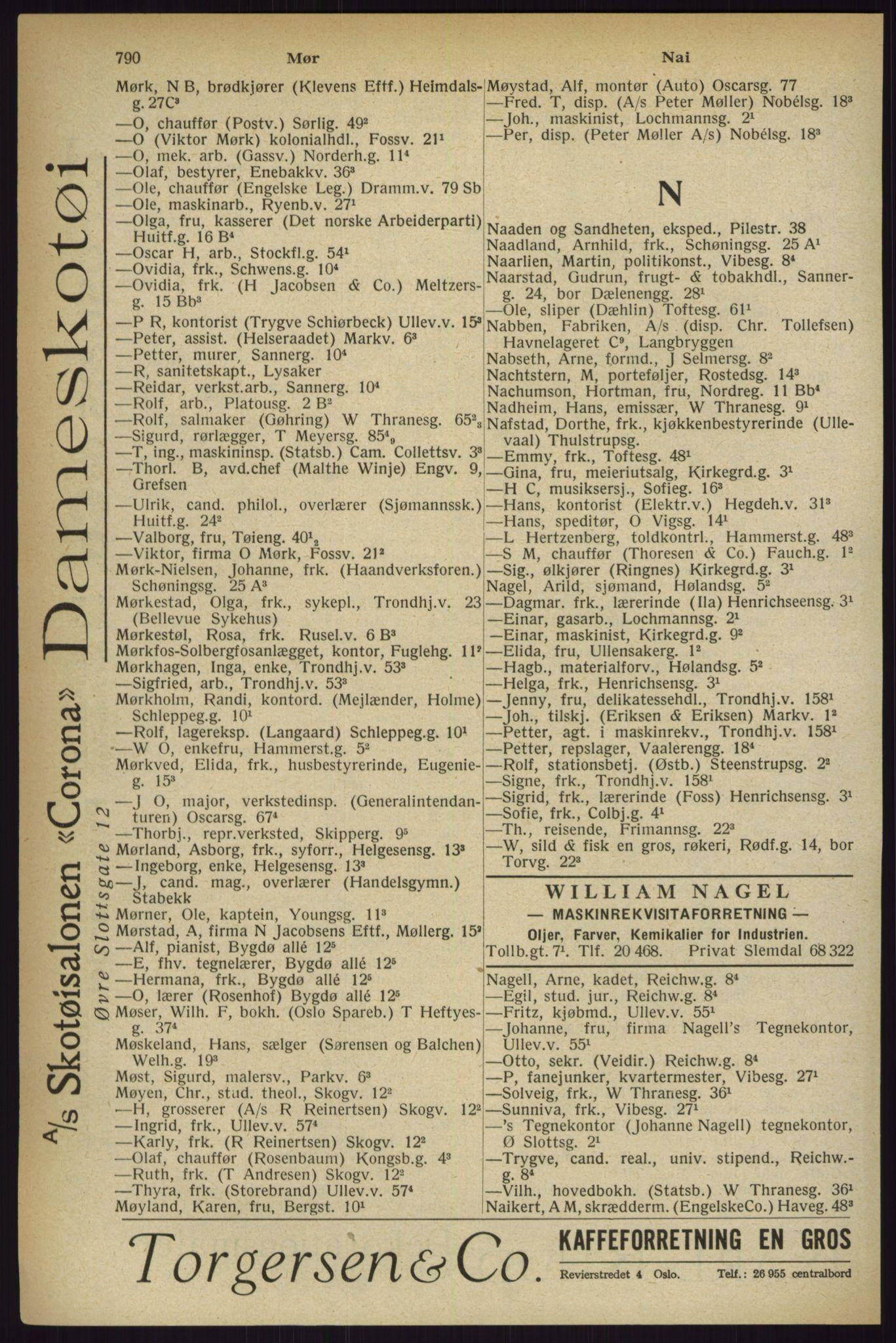 RA, Oslo adressebok (publikasjon)*, 1927, s. 790