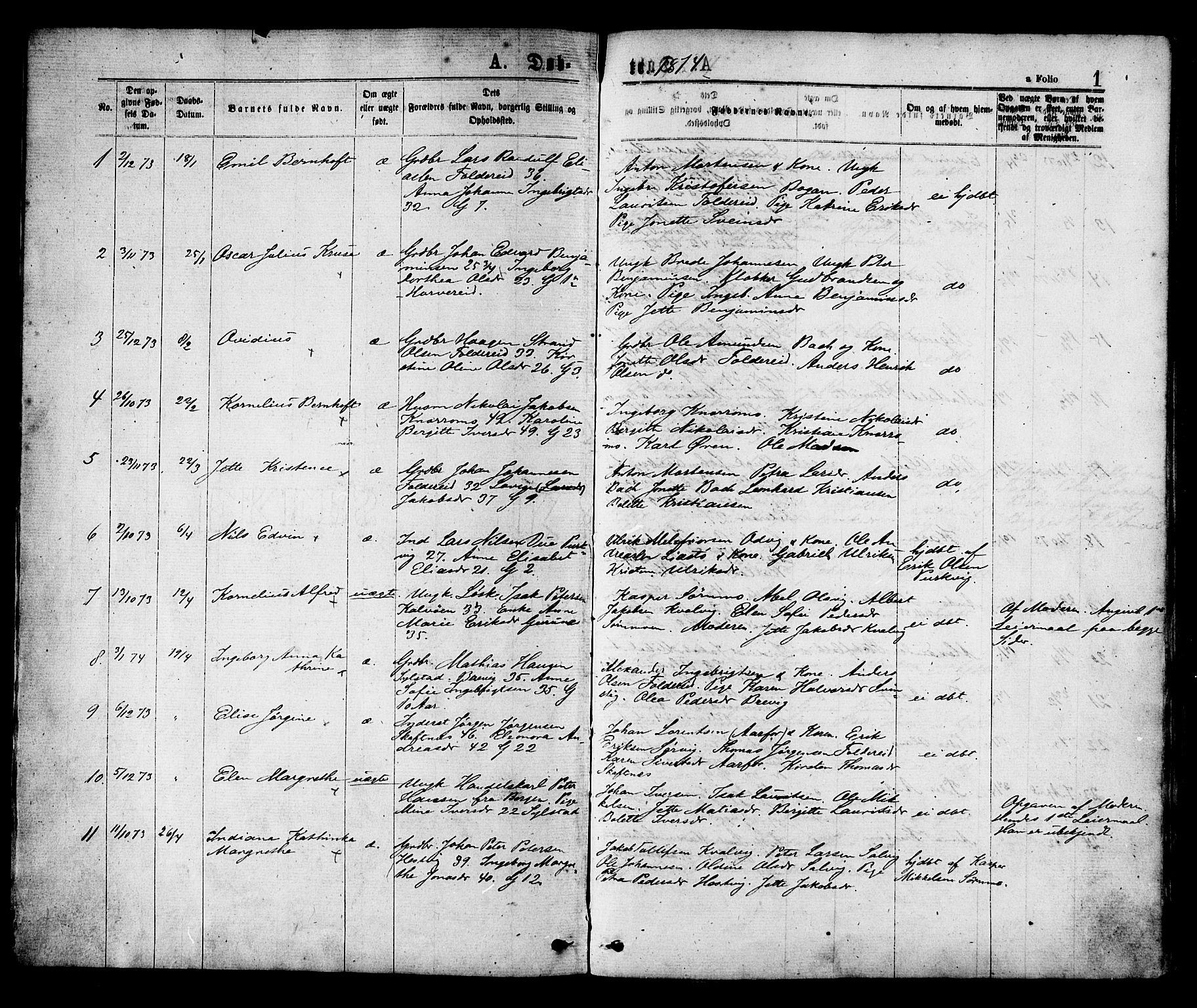 SAT, Ministerialprotokoller, klokkerbøker og fødselsregistre - Nord-Trøndelag, 780/L0642: Ministerialbok nr. 780A07 /1, 1874-1885, s. 1