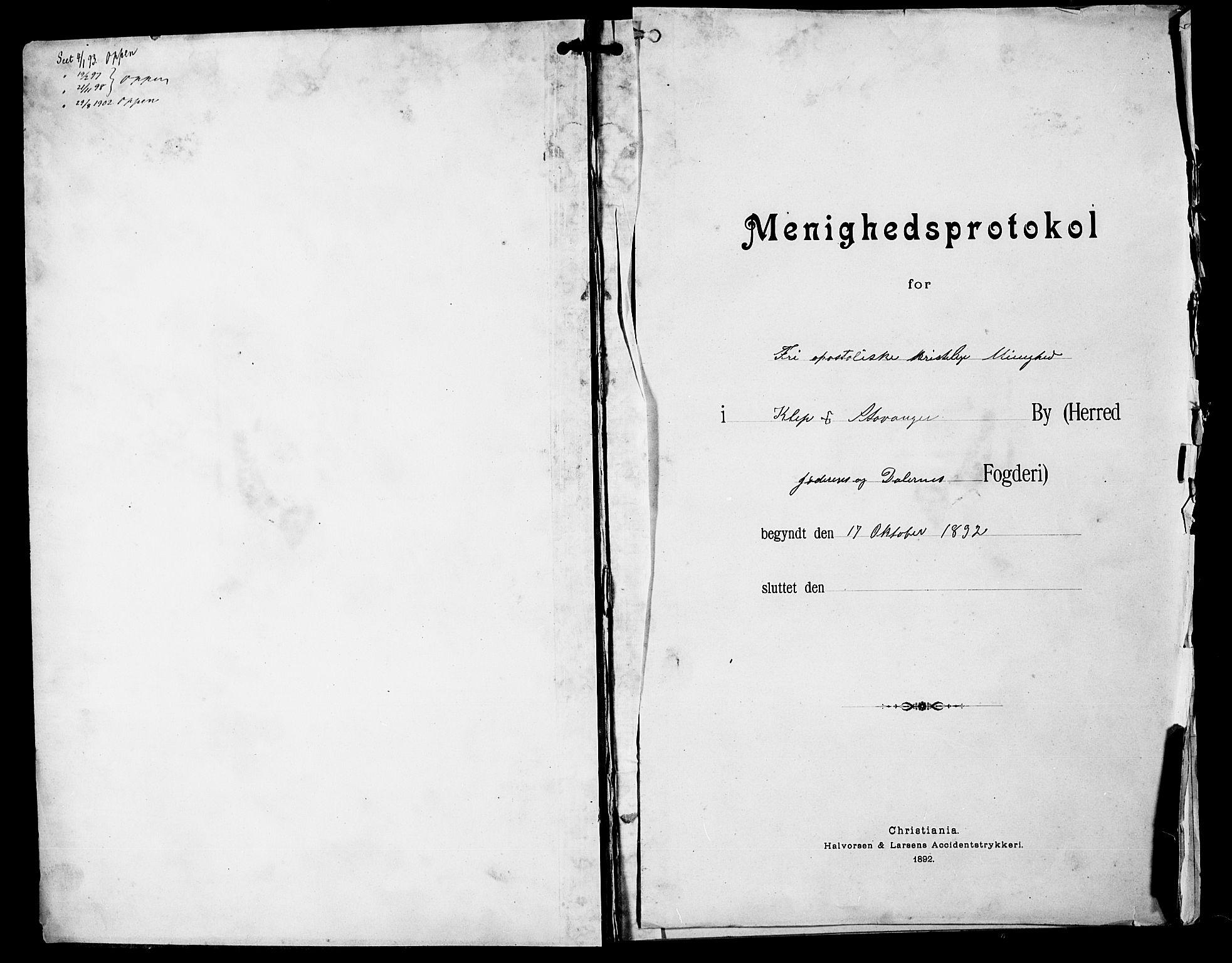 SAST, Stavanger amt*, Dissenterprotokoll nr. -, 1892-1902