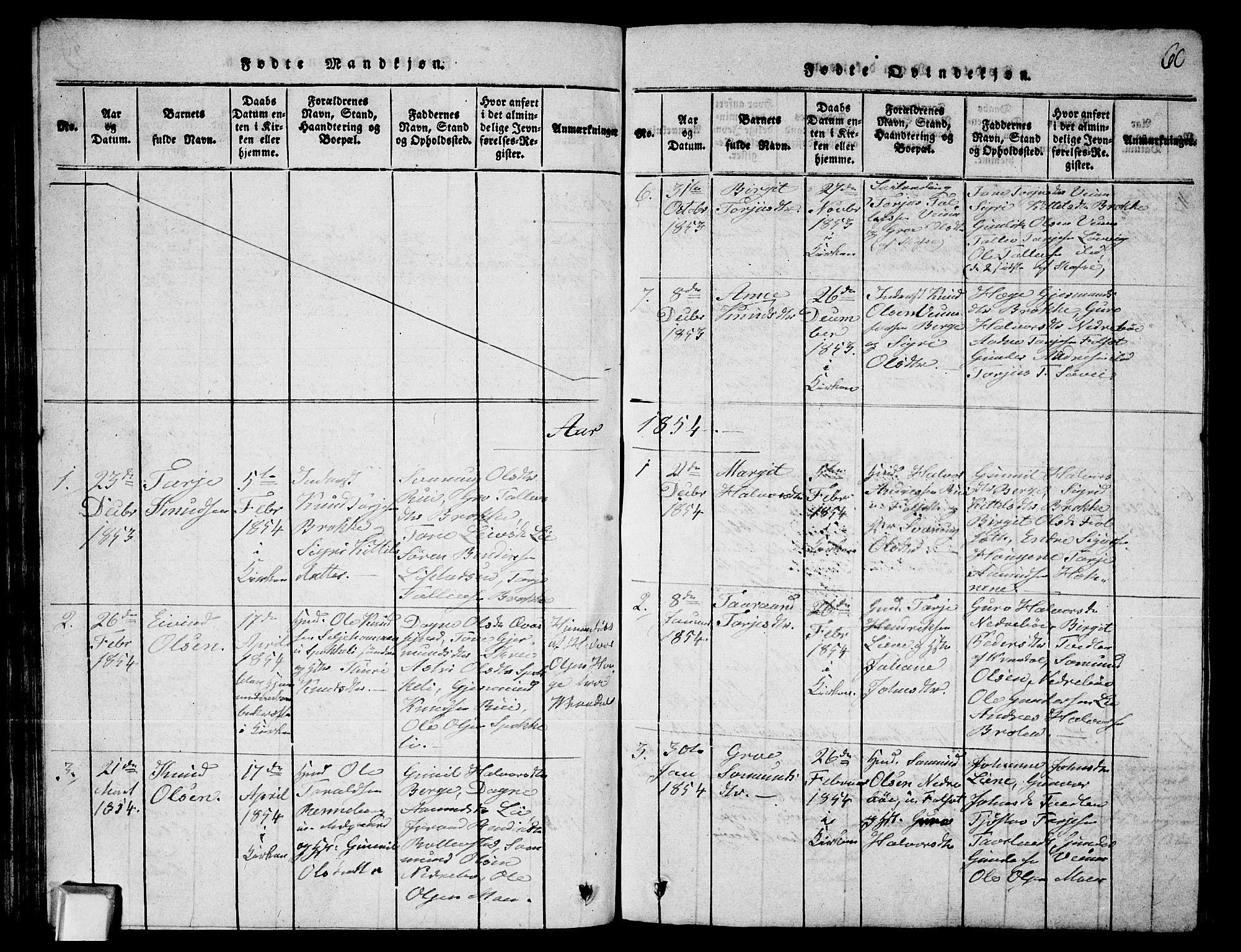 SAKO, Fyresdal kirkebøker, G/Ga/L0003: Klokkerbok nr. I 3, 1815-1863, s. 60