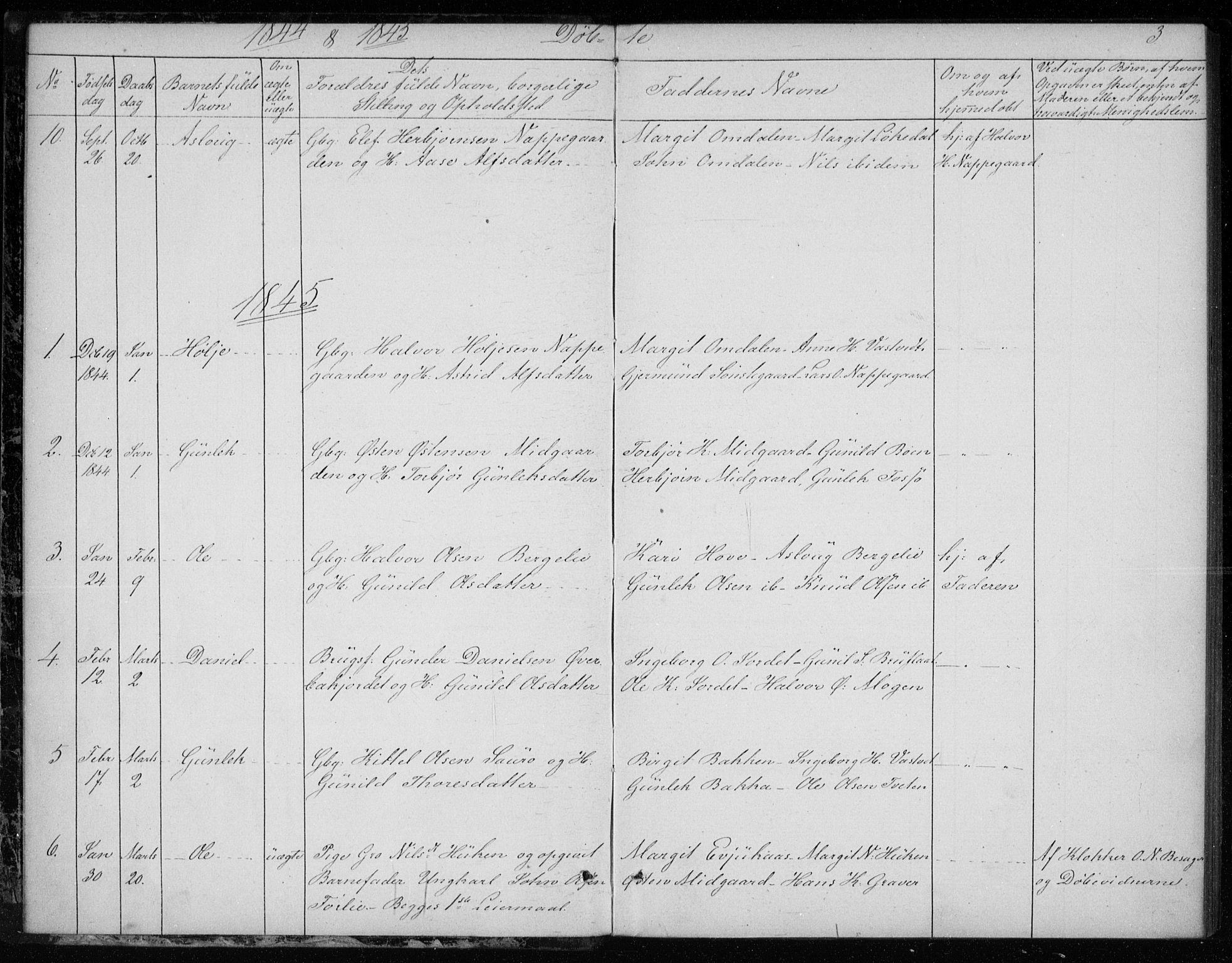 SAKO, Gransherad kirkebøker, F/Fb/L0003: Ministerialbok nr. II 3, 1844-1859, s. 3